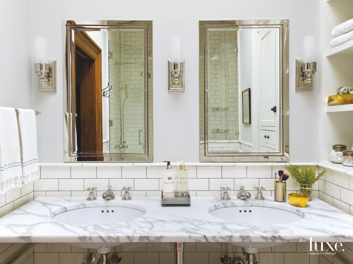 White Subway Tiles & Marble Pair With Nickel Fixtures In Clean, Sophisticated Chicago Bath