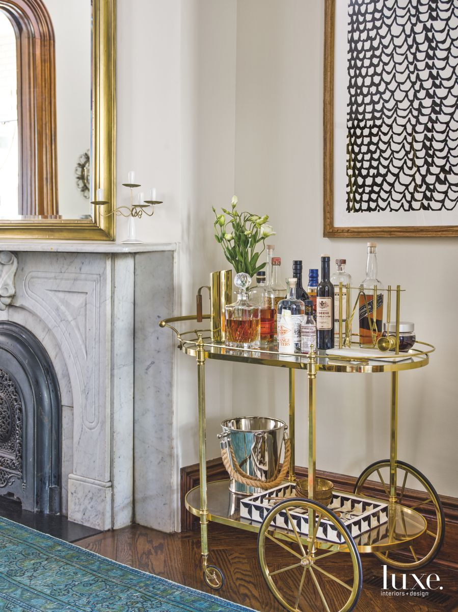 Brass Bar Cart Adds a Touch of Whimsy to A Chicago Dining Room
