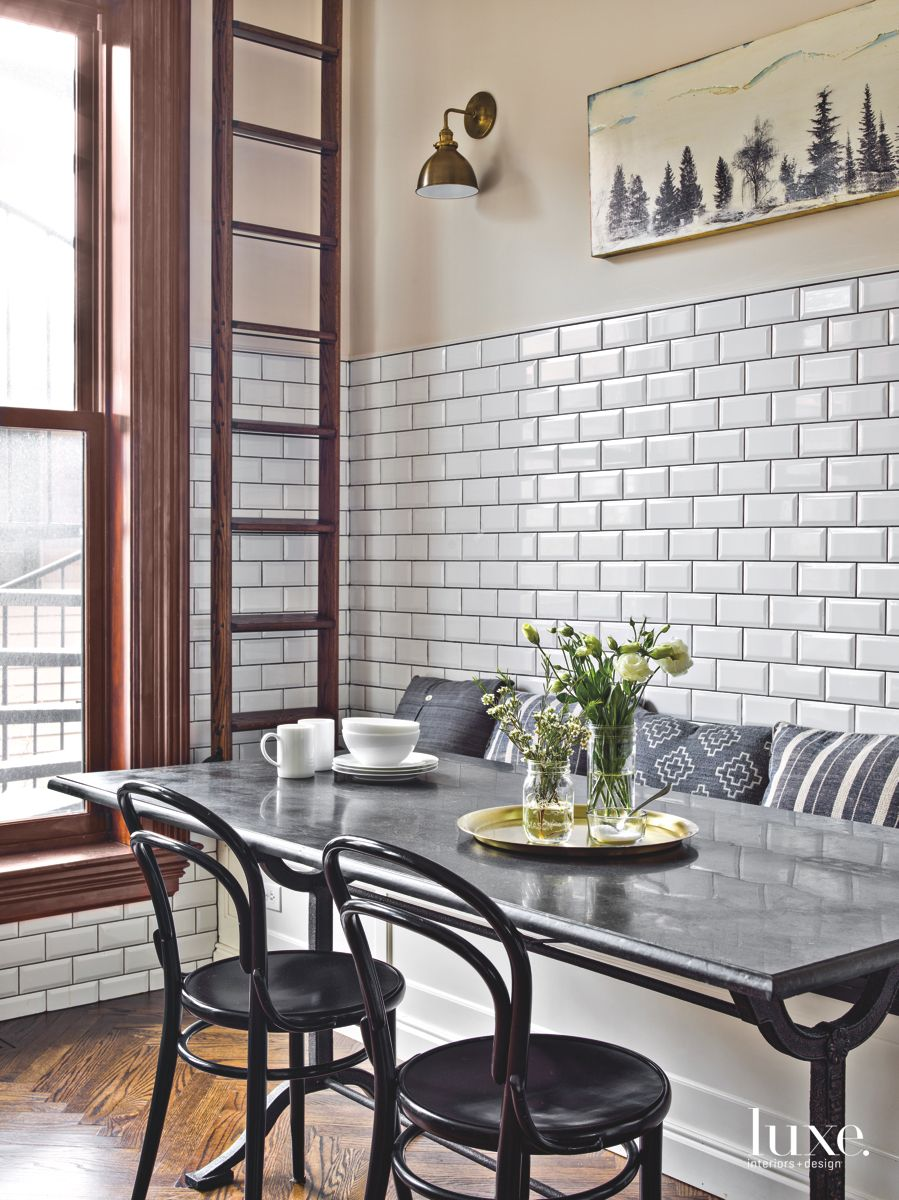 Subway Tiles and Cast Iron Bring Pre-War Charm to Chicago Row House Kitchen