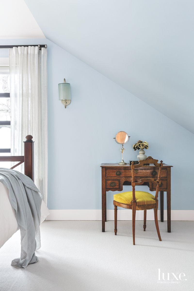 Feminine, Vintage Touches in Soothing Blue Seattle Master Bedroom