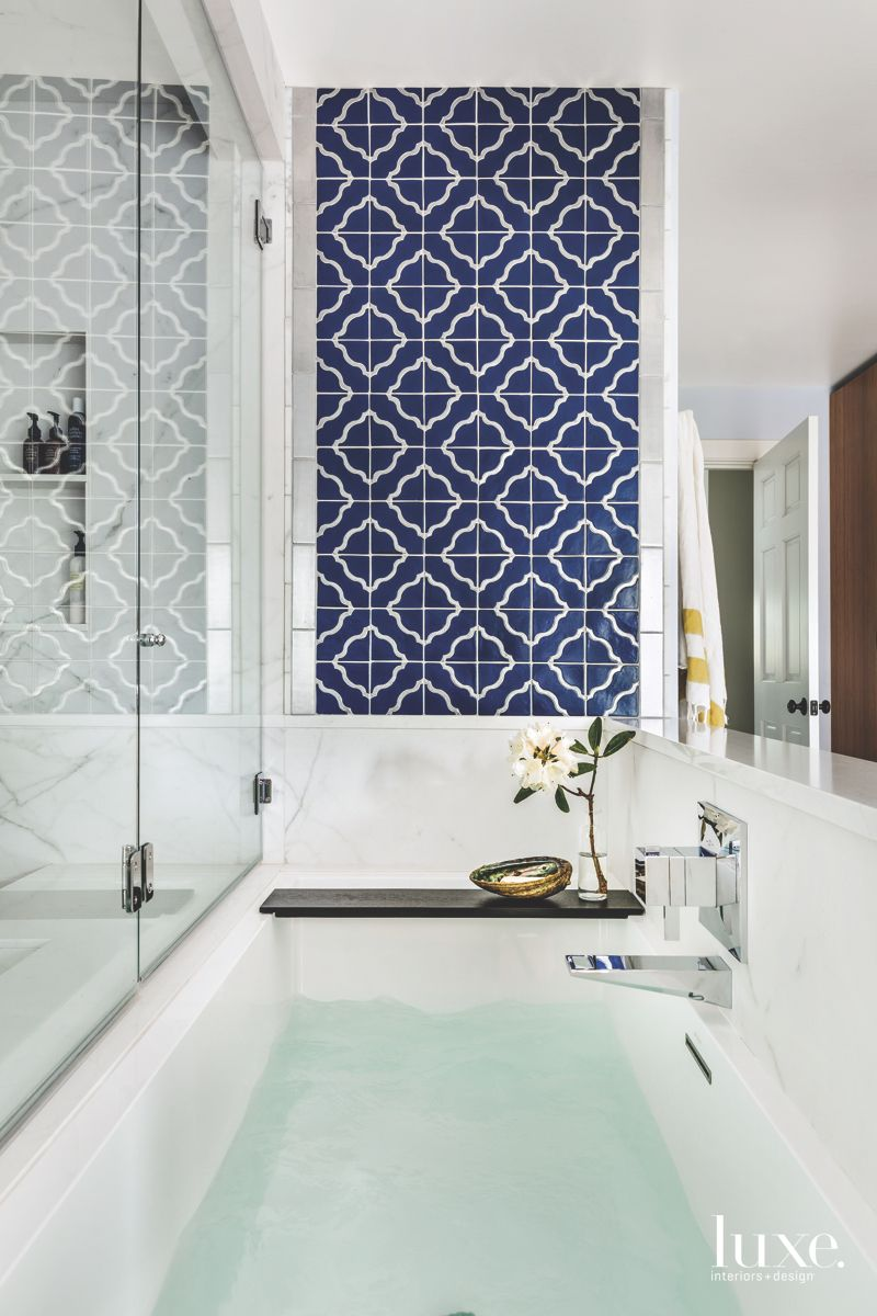 Graphic Tile Accent Wall in Soothing, Spa-Like Master Bath