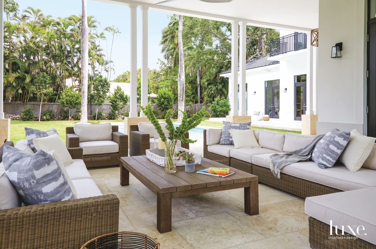 Covered Terrace in Miami Home Acts As Extension of Interior Rooms