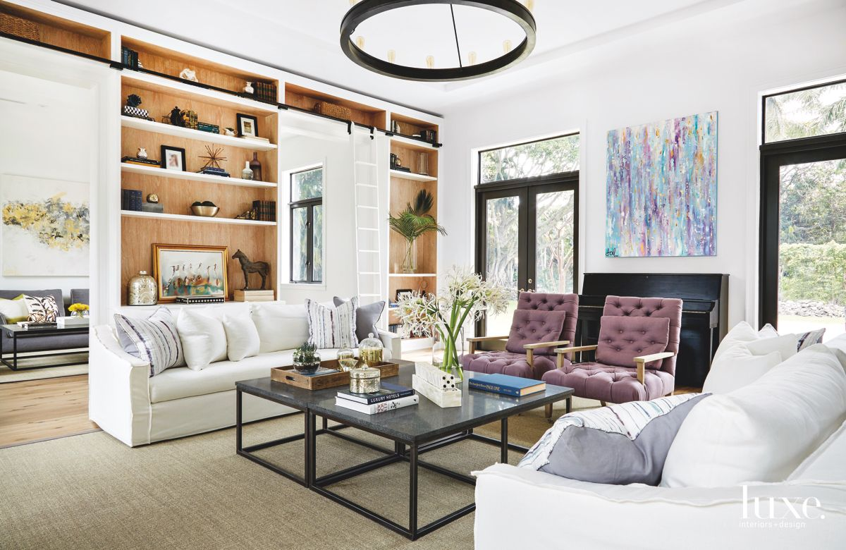 Miami Living Room That's Also A Library, Music Room & Entertaining Space