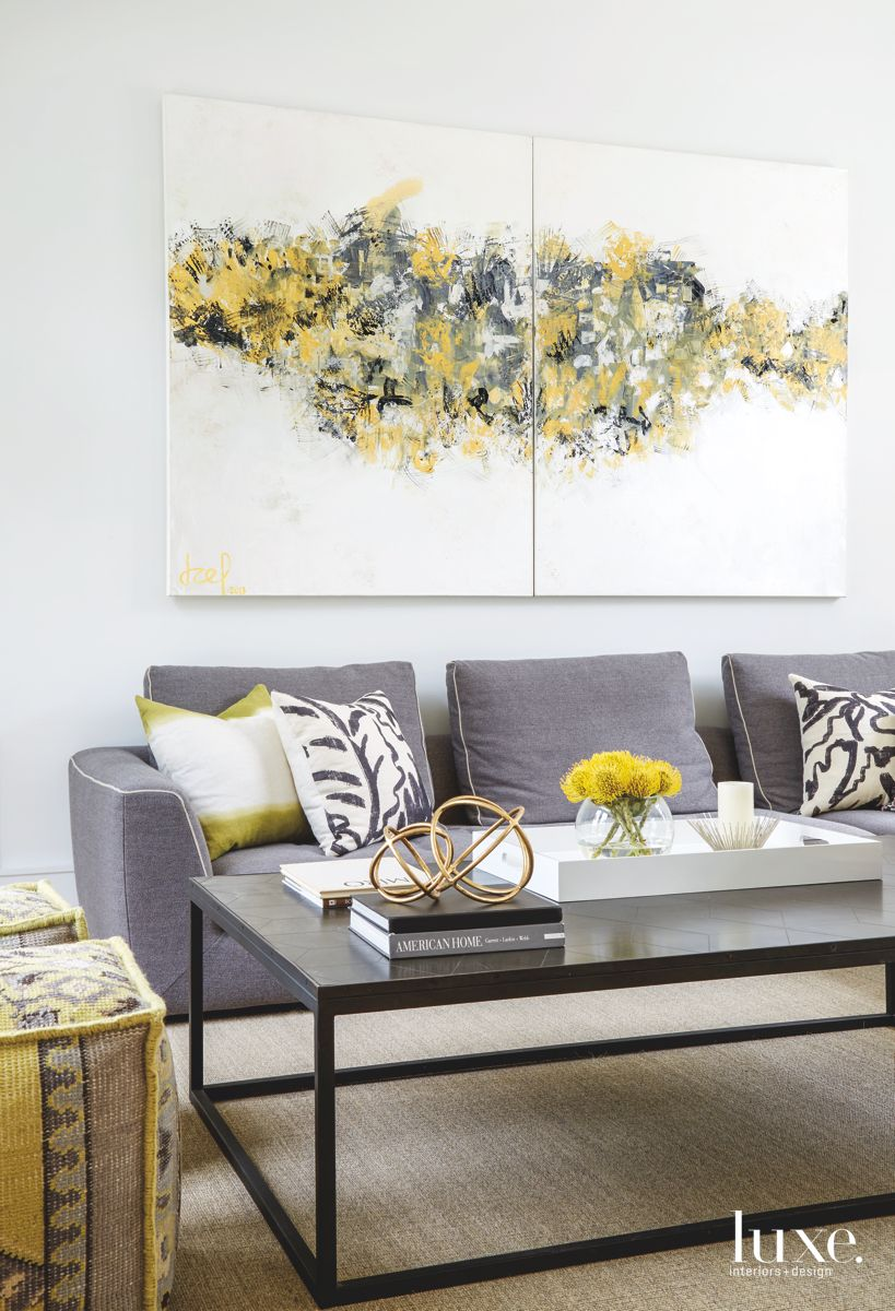 Modern Miami Family Room Anchored by Art