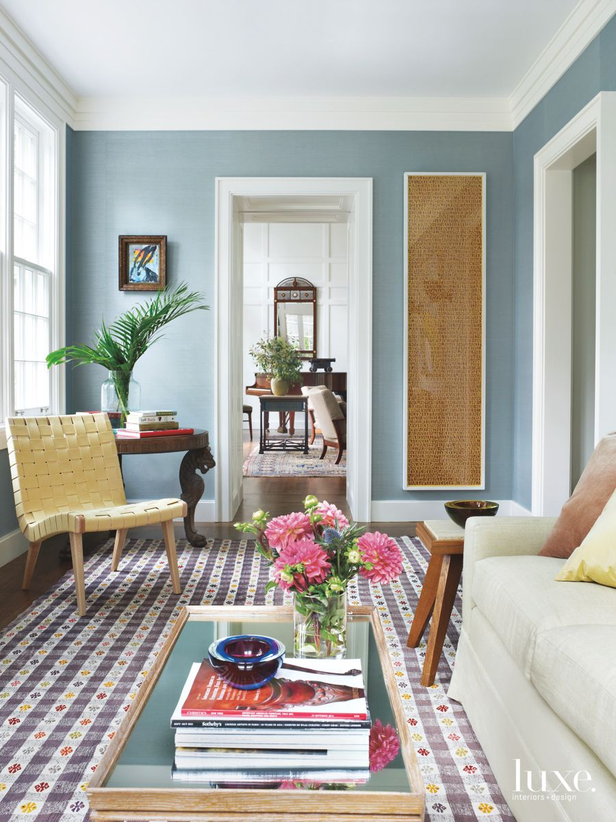 Turkish Midcentury Cotton Rug Adds Texture and Color in Casual, Intimate Sitting Area