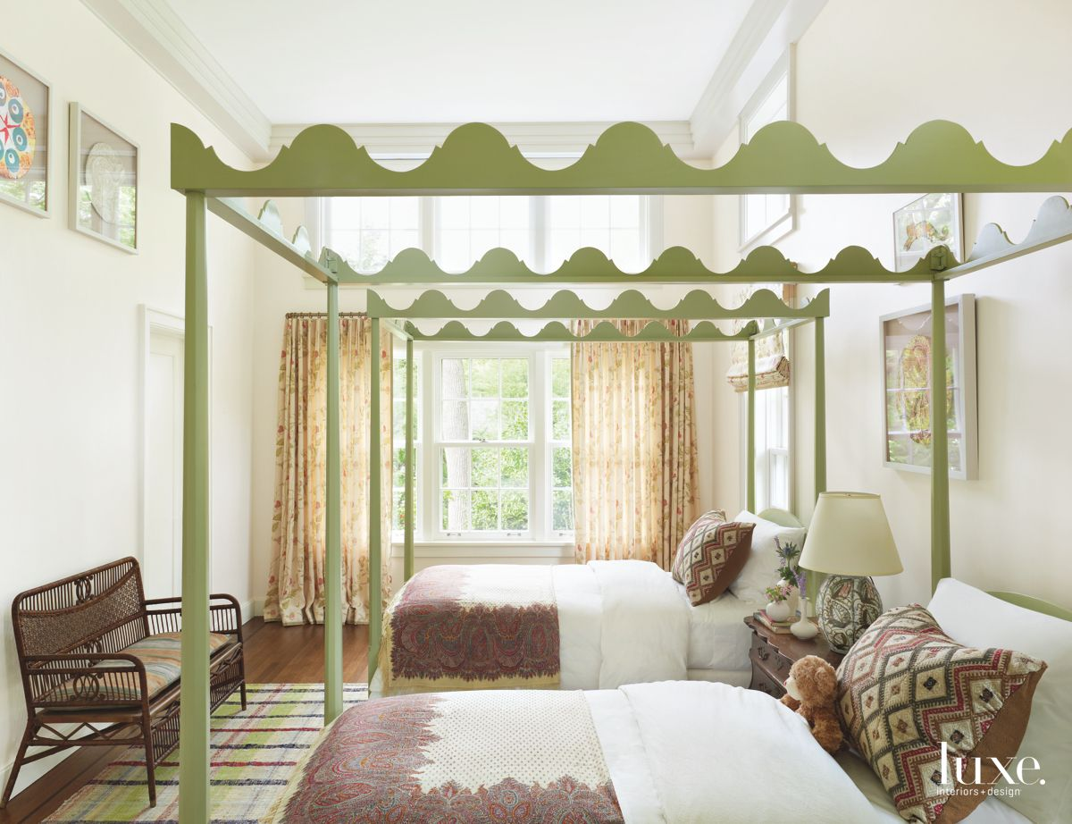 Pattern on Pattern, Era Upon Era in Long Island Gold Coast Guest Bedroom