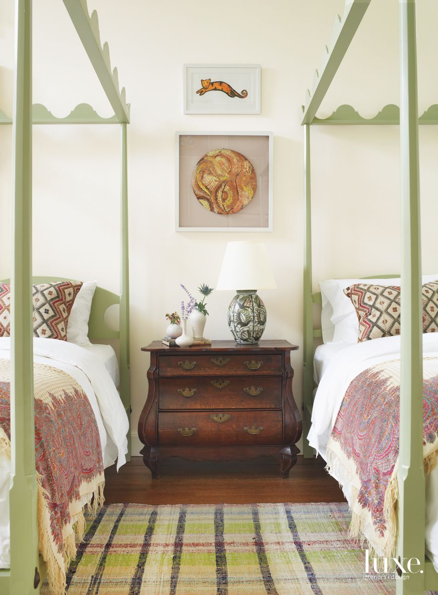 Long Island Gold Coast Guest Room Features Decorative Elements from Federal to Midcentury Eras