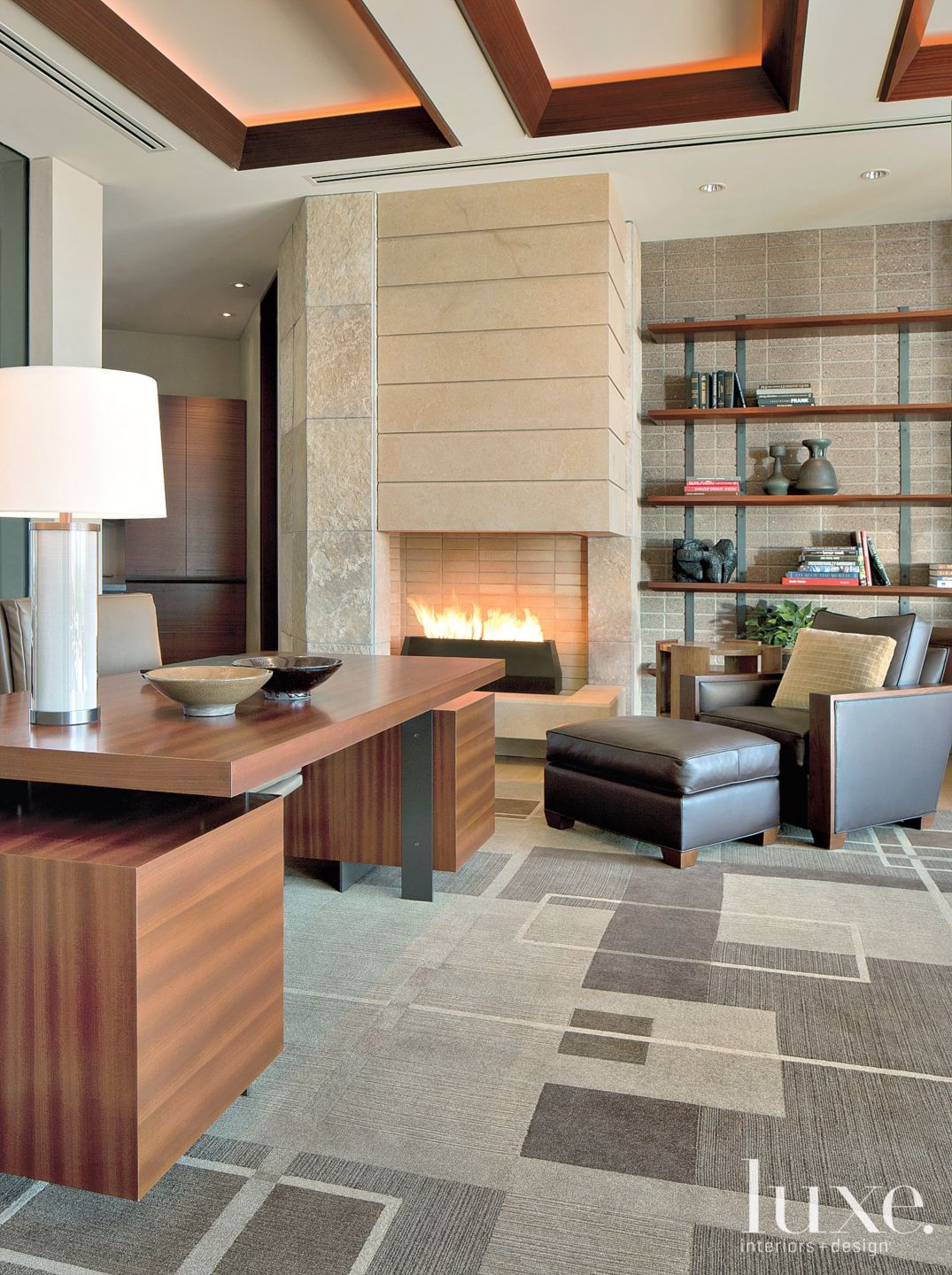 Modern Neutral Study with Stone Wall