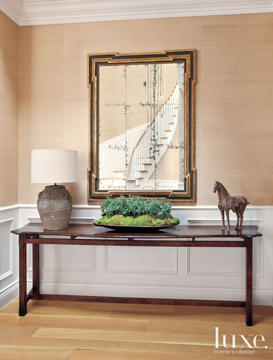 Transitional Neutral Hall Detail with Wainscoting