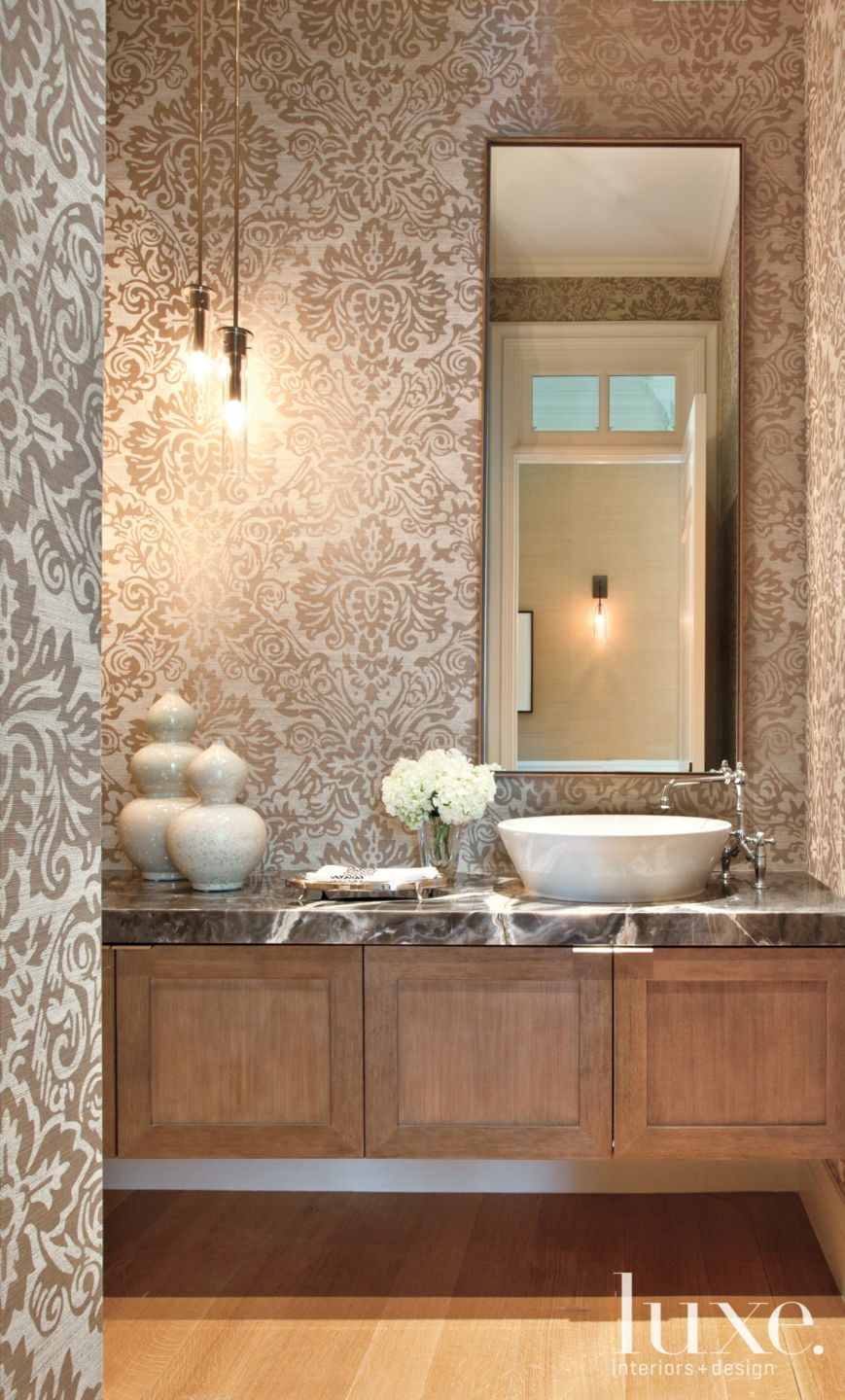 Transitional Neutral Powder Room with Printed Wallcovering
