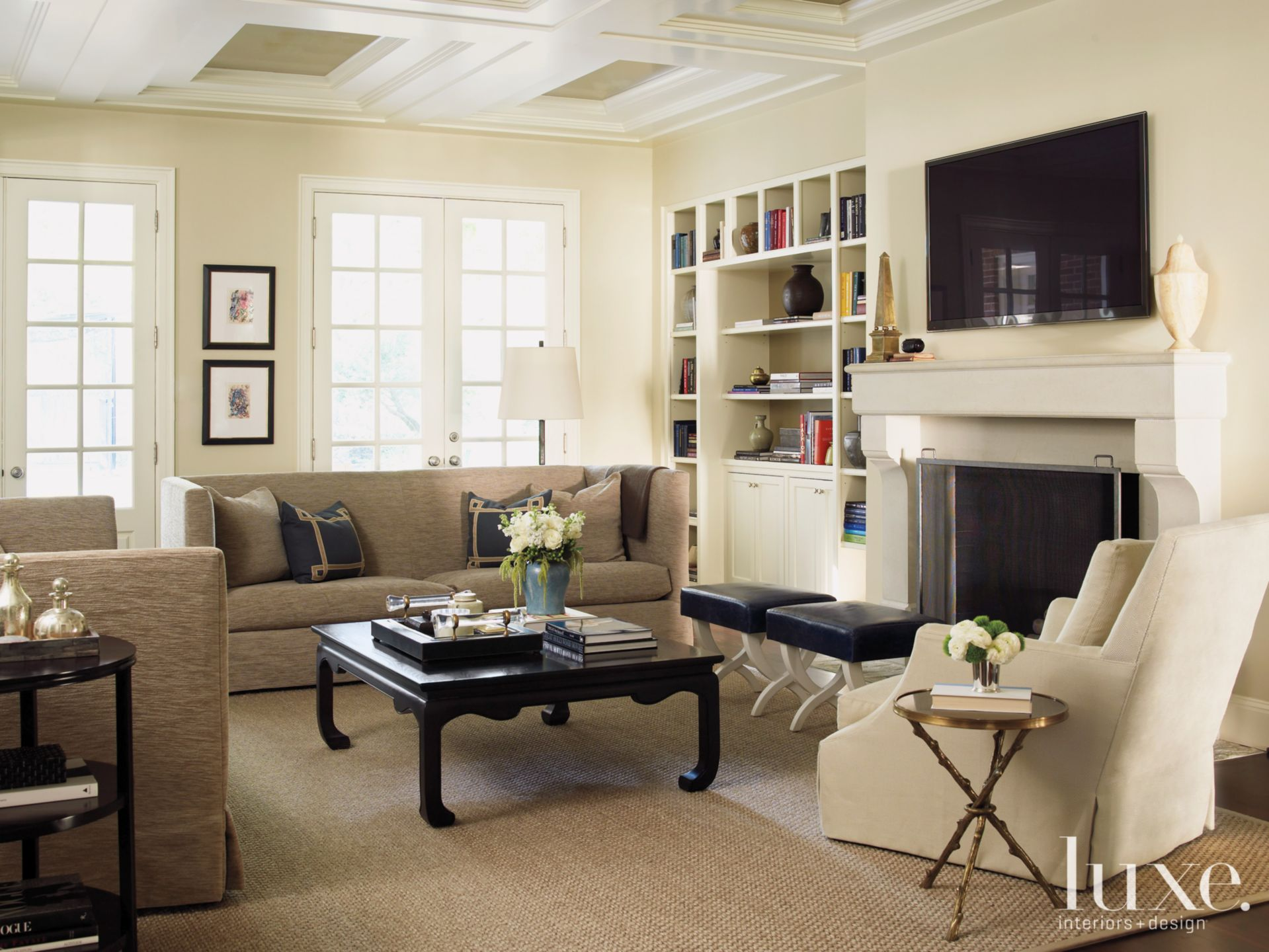 Neutral Transitional Family Room