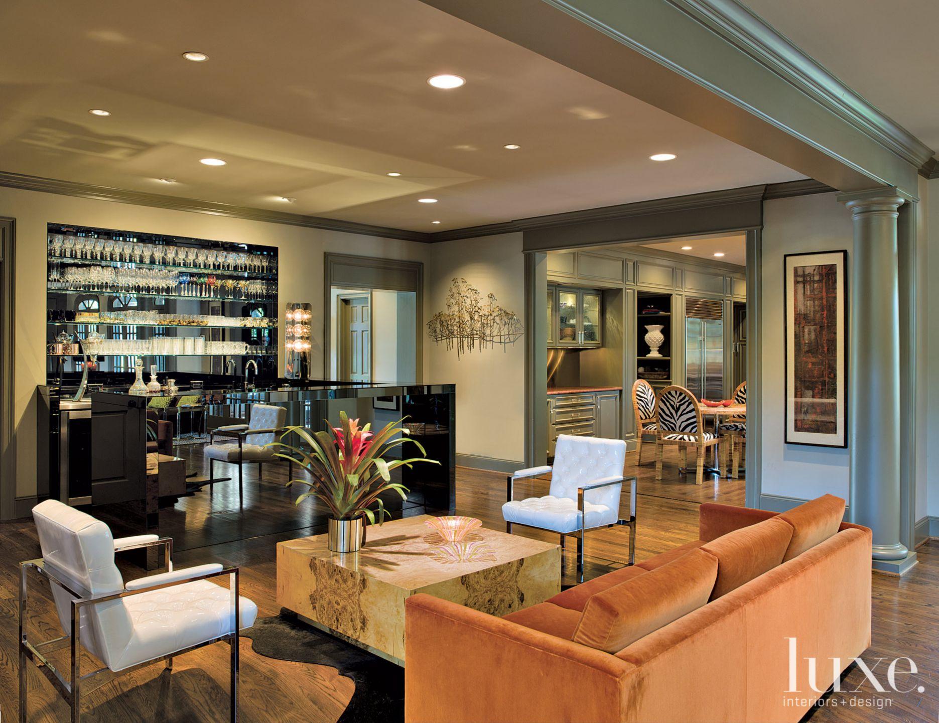 Eclectic Cream Great Room Bar Area
