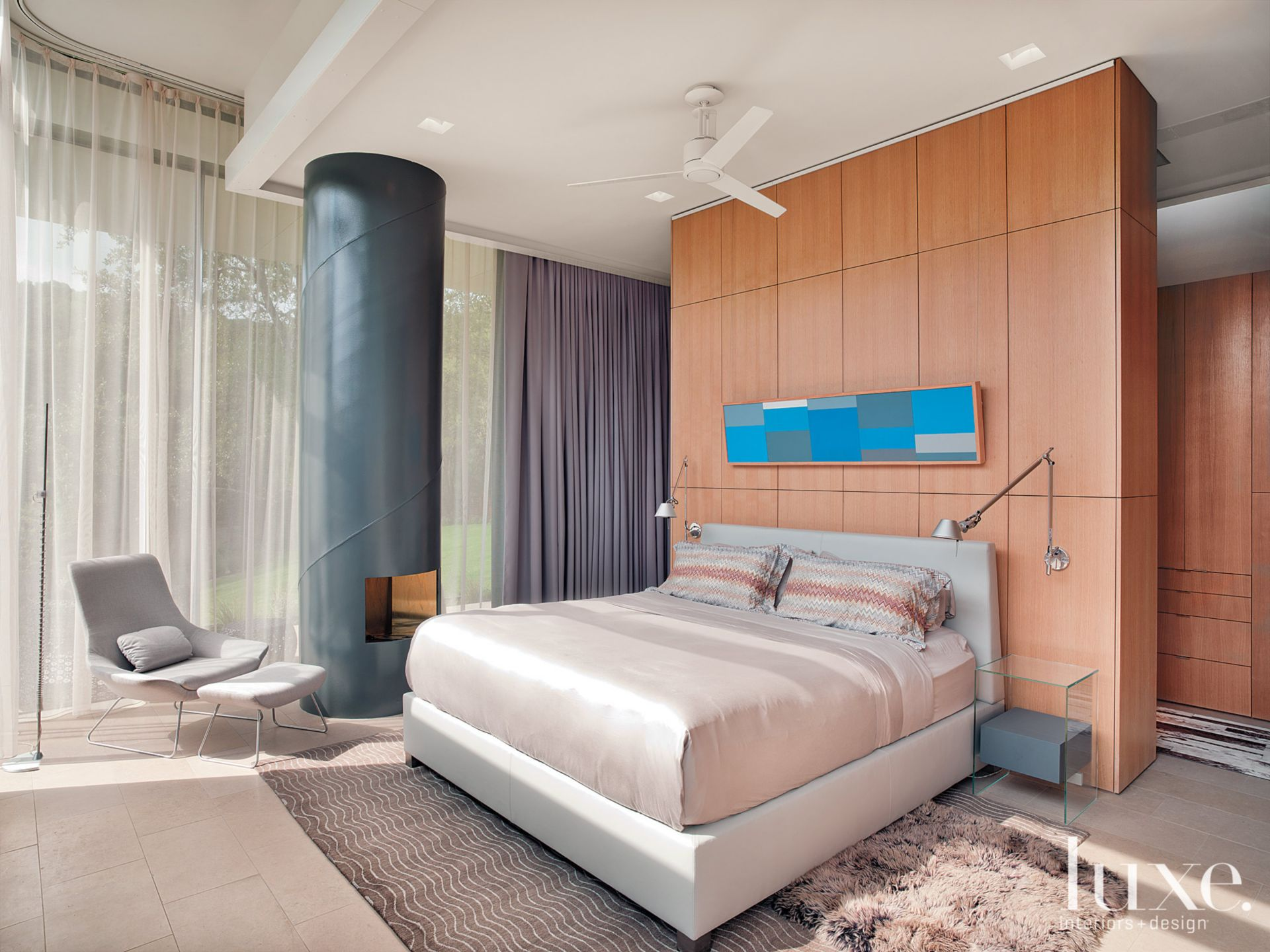 Contemporary Wood and Neutral Bedroom