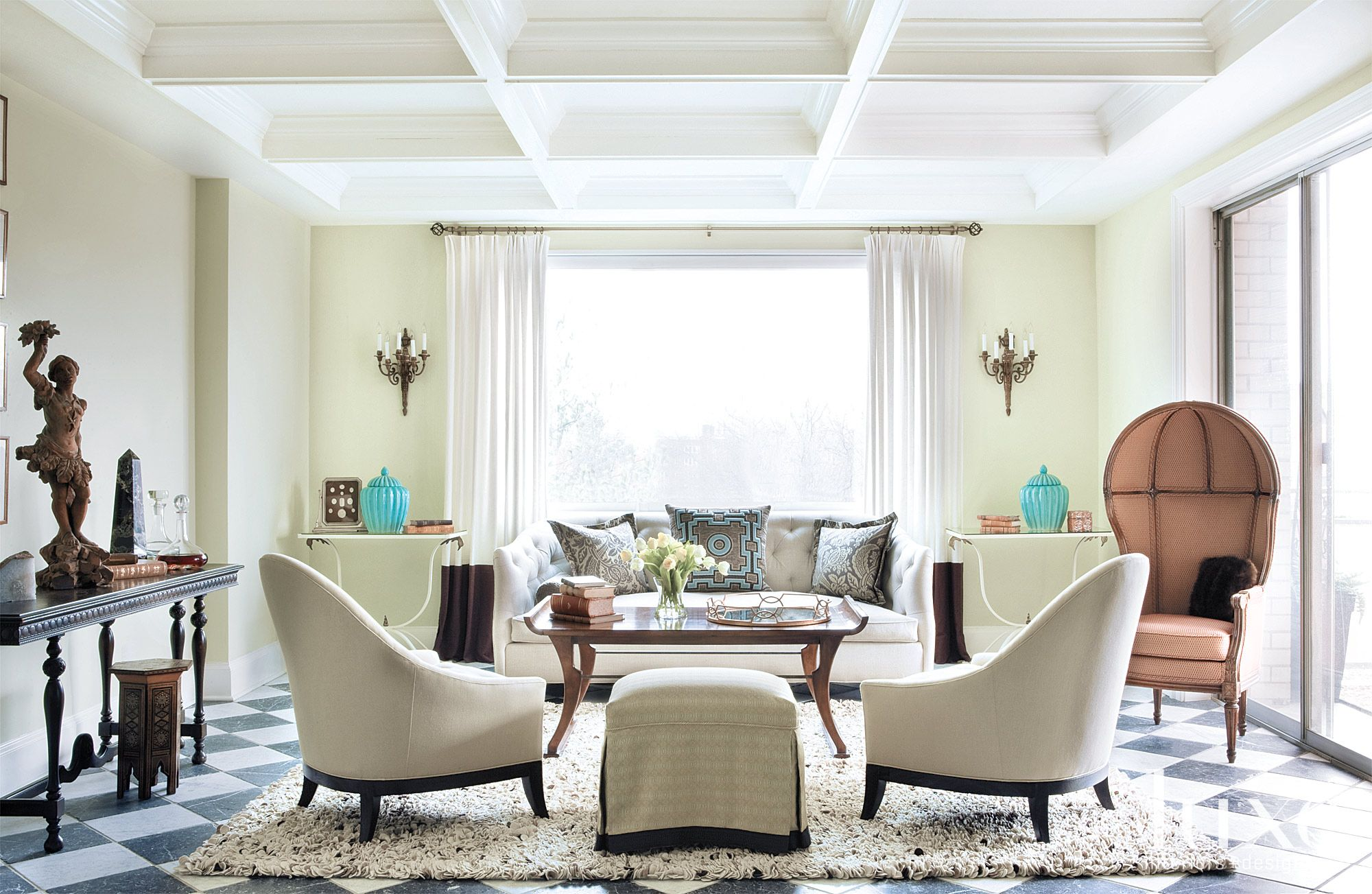 Eclectic Green Living Room with Coffered Ceiling
