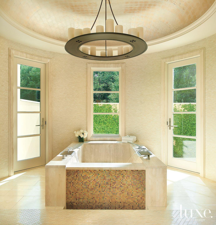Transitional Cream Bathroom with Mosaic Travertine Tile Walls