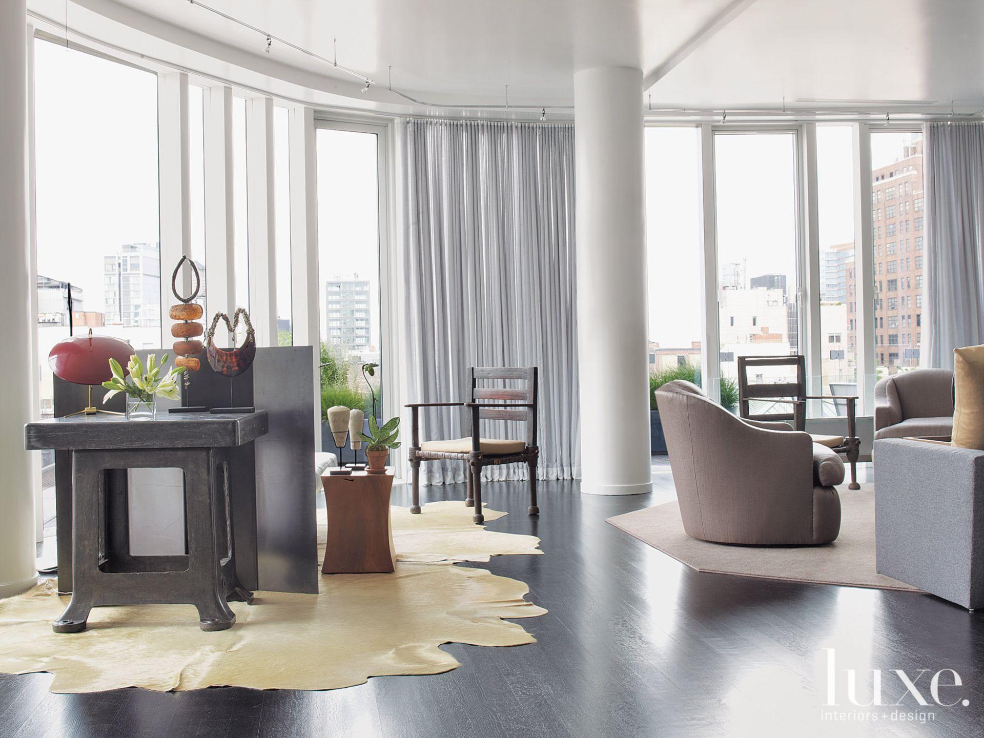 White Modern Tribal-Inspired Living Room