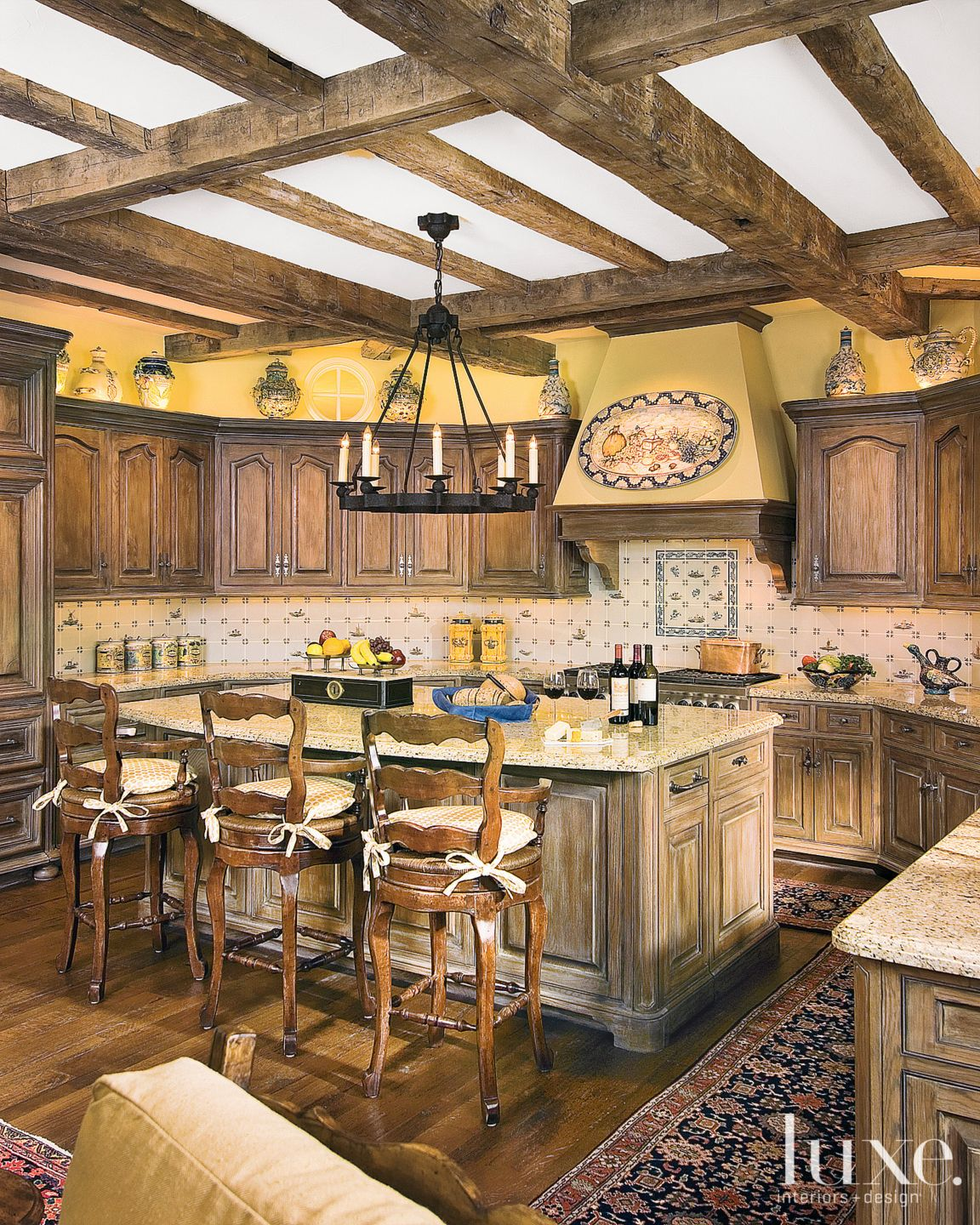 Yellow Rustic French Country Kitchen