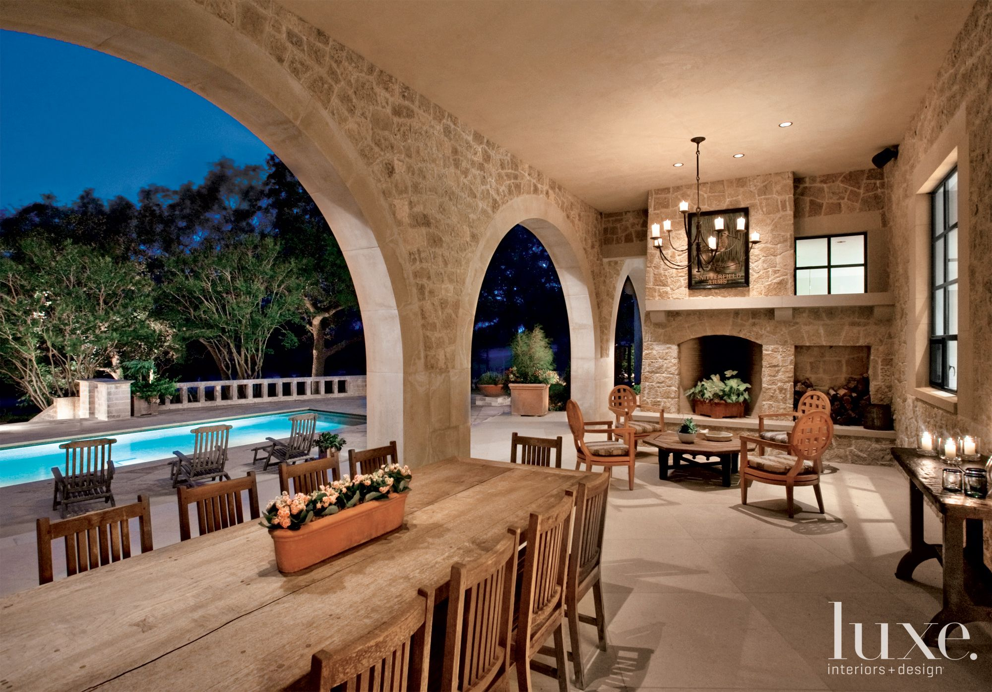 Neutral Country Loggia with Large Arched Openings