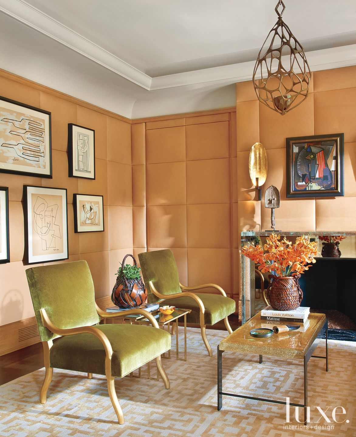 Transitional Orange Parlor with Upholstered Leather Walls
