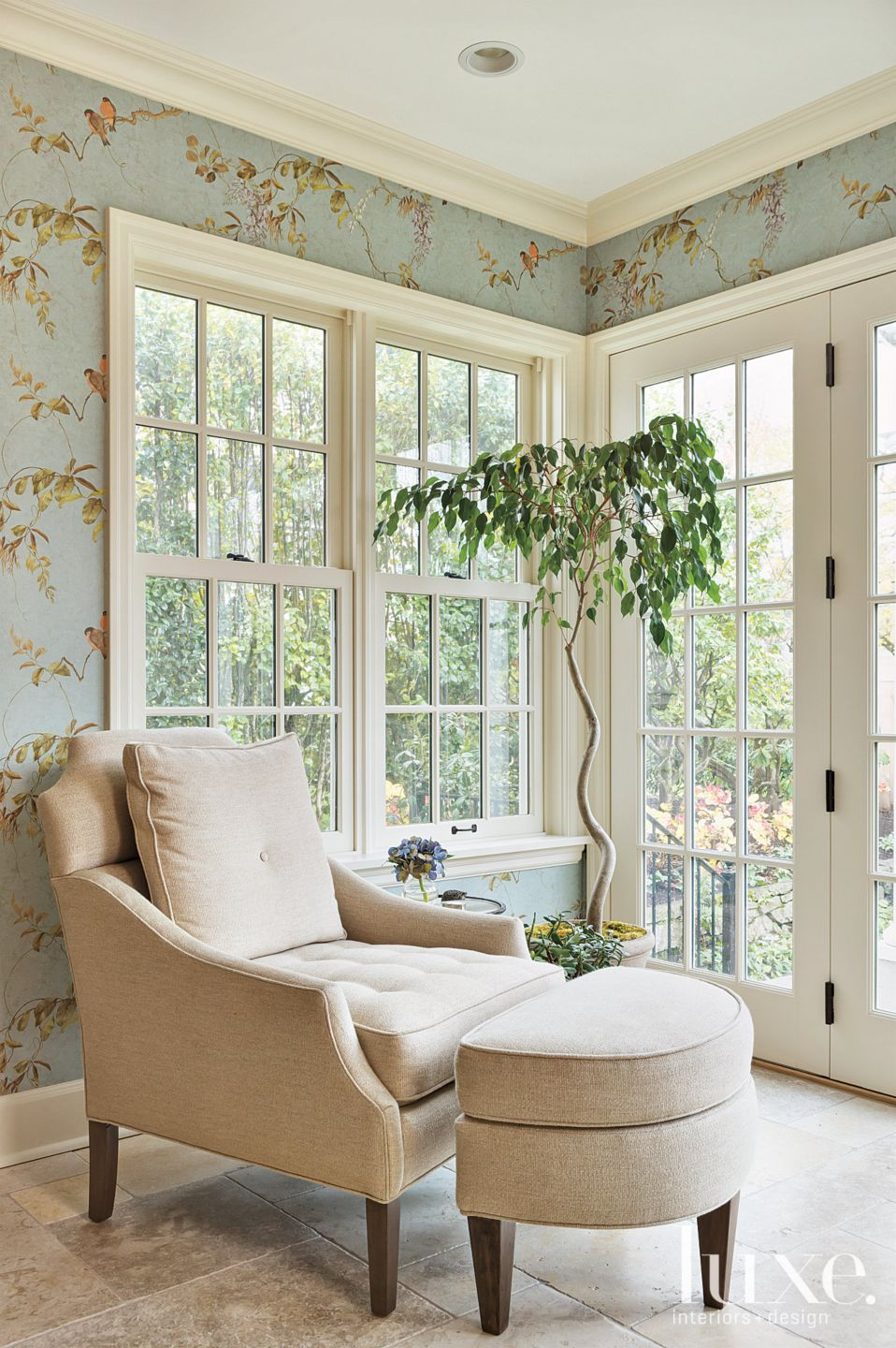 Transitional Blue Breakfast Area Vignette with Armchair