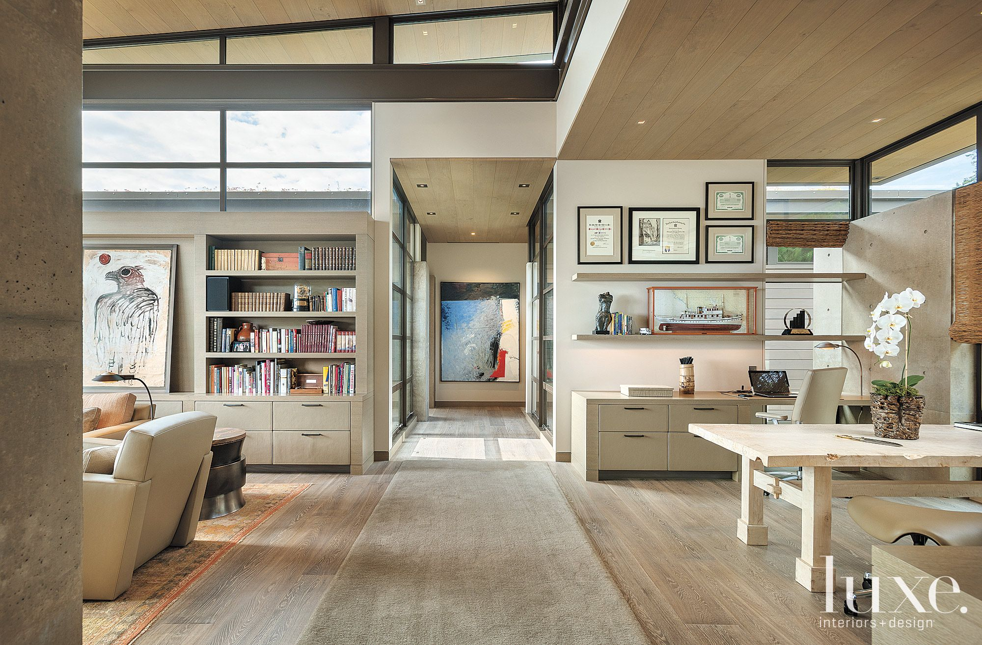 Contemporary Neutral Office with Leather Cabinetry