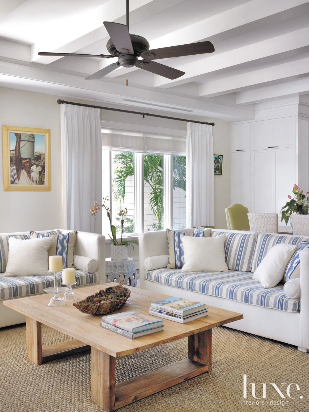 Transitional White Family Room with Ceiling Fan