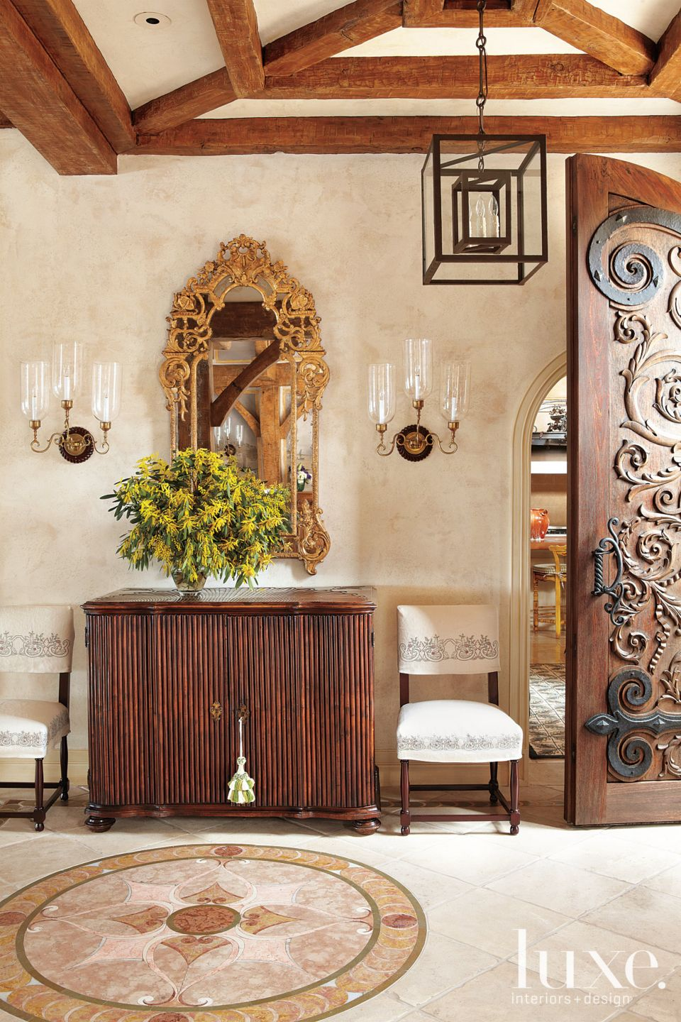 Mediterranean Foyer with Wooden Console