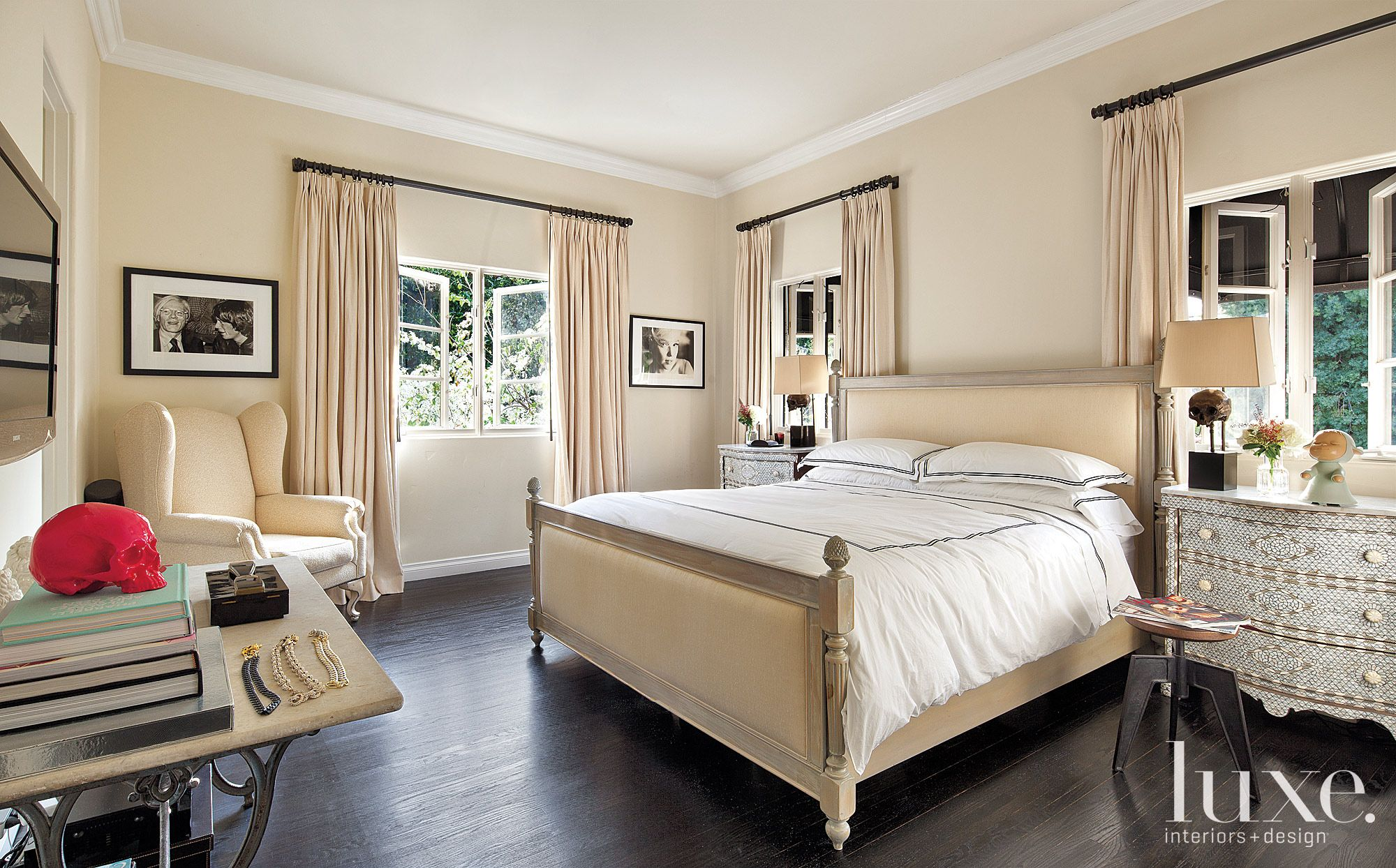 Eclectic Cream Guest Bedroom