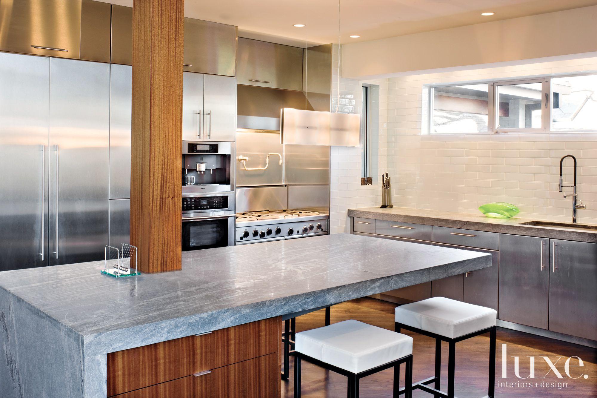 Modern Gray Kitchen with Brick Backsplash