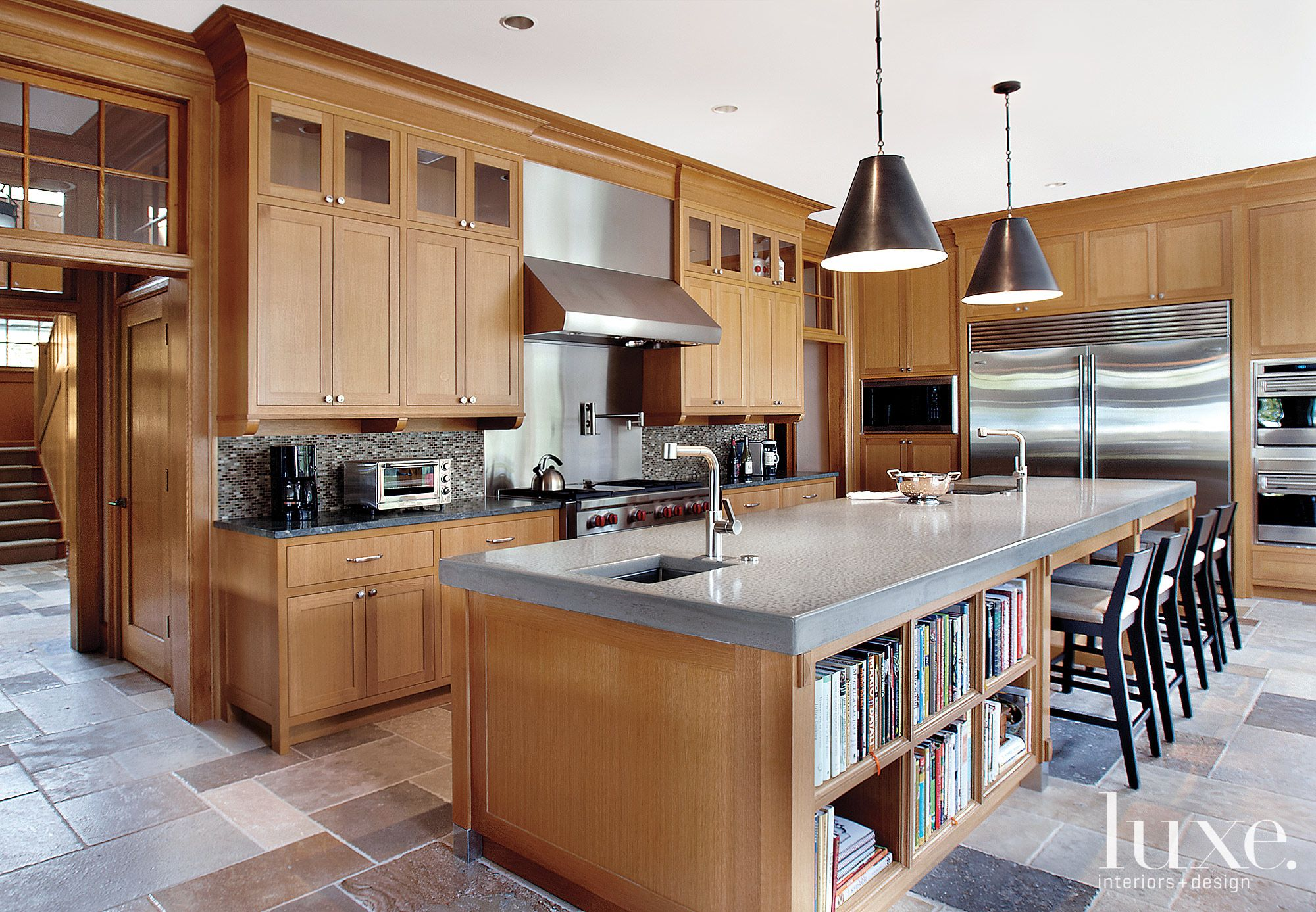 Traditional Brown Kitchen with Poured-Concrete Island