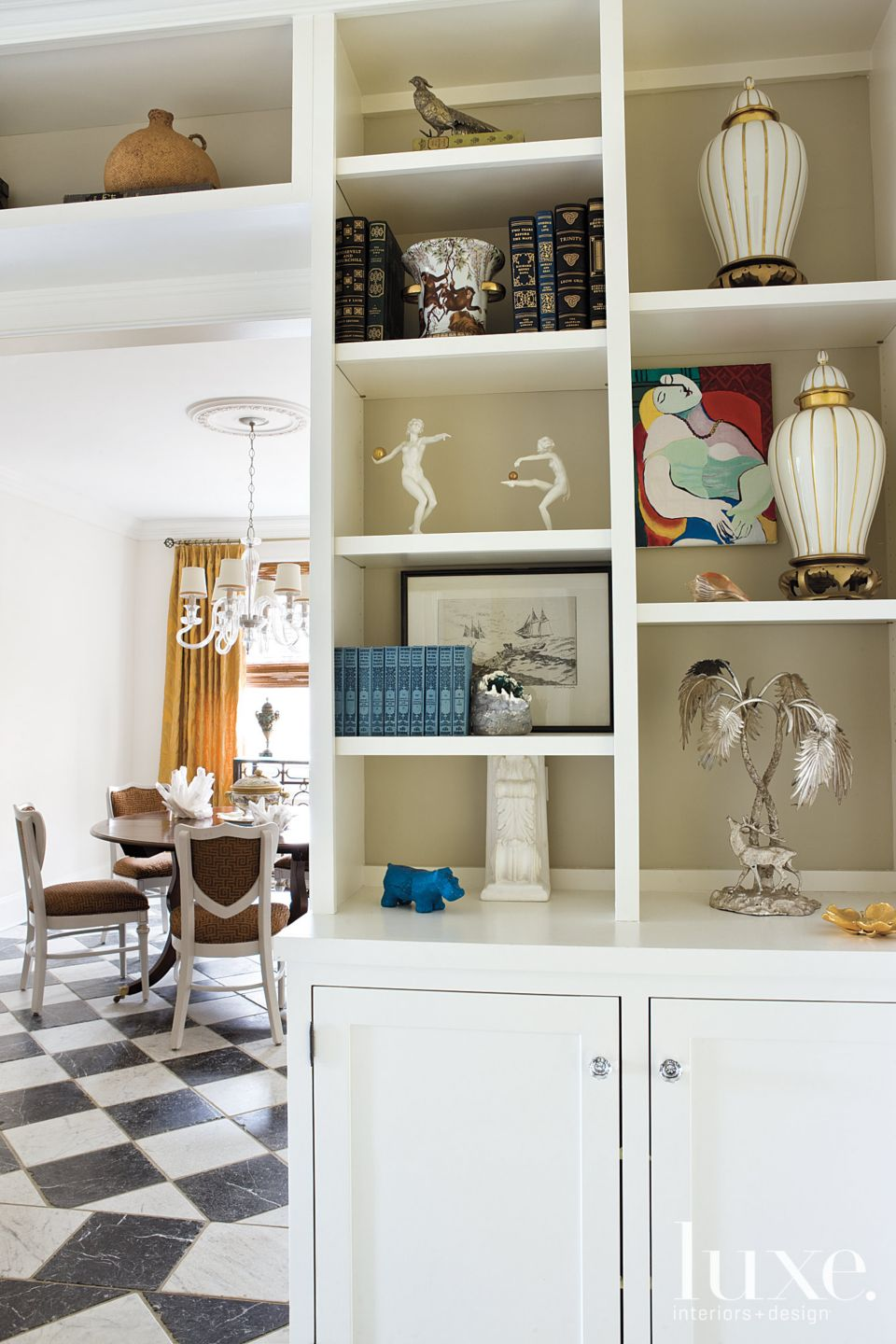 Transitional White Hallway with Gallery Shelves