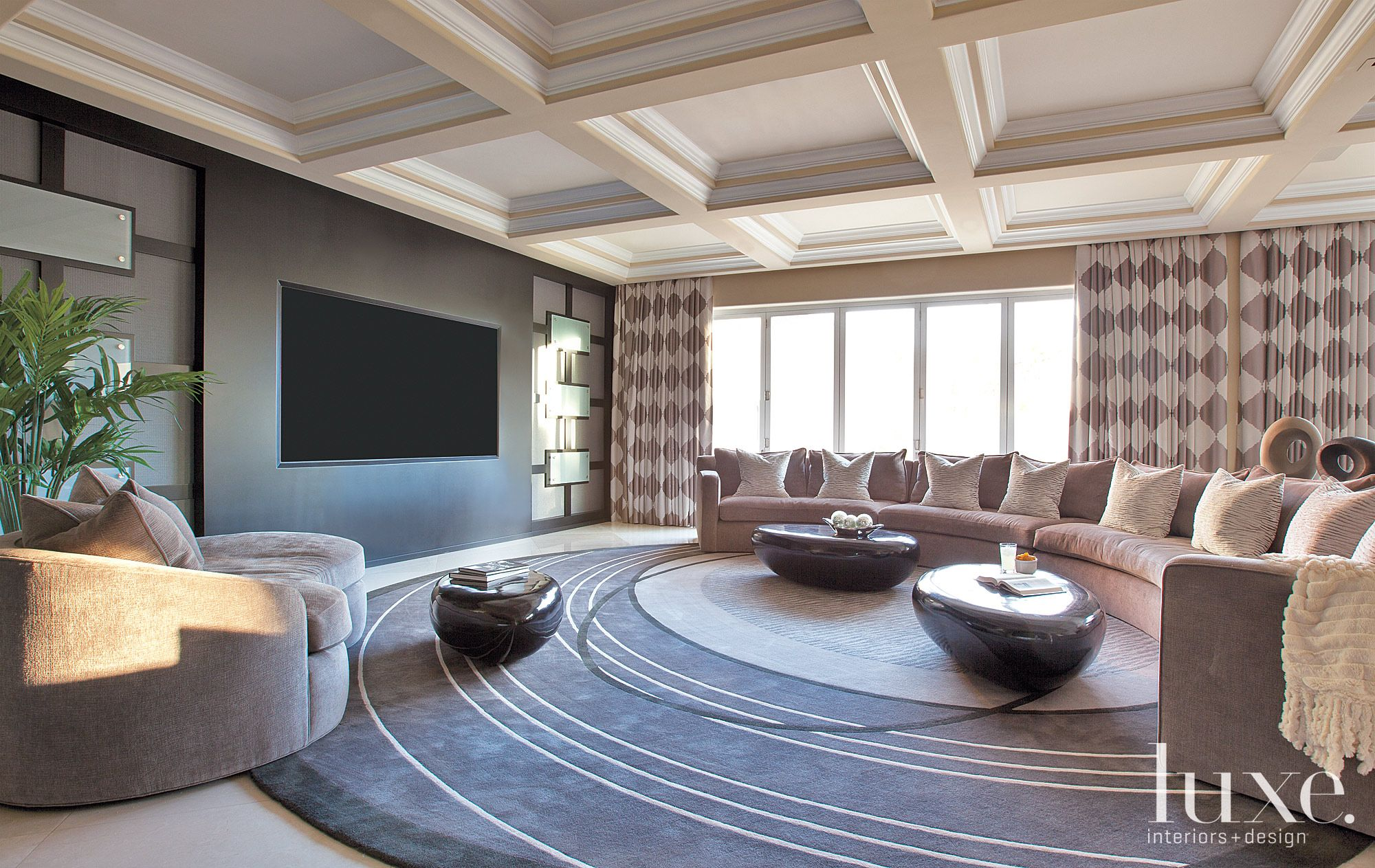 Contemporary Neutral Family Room with Radial Sectional
