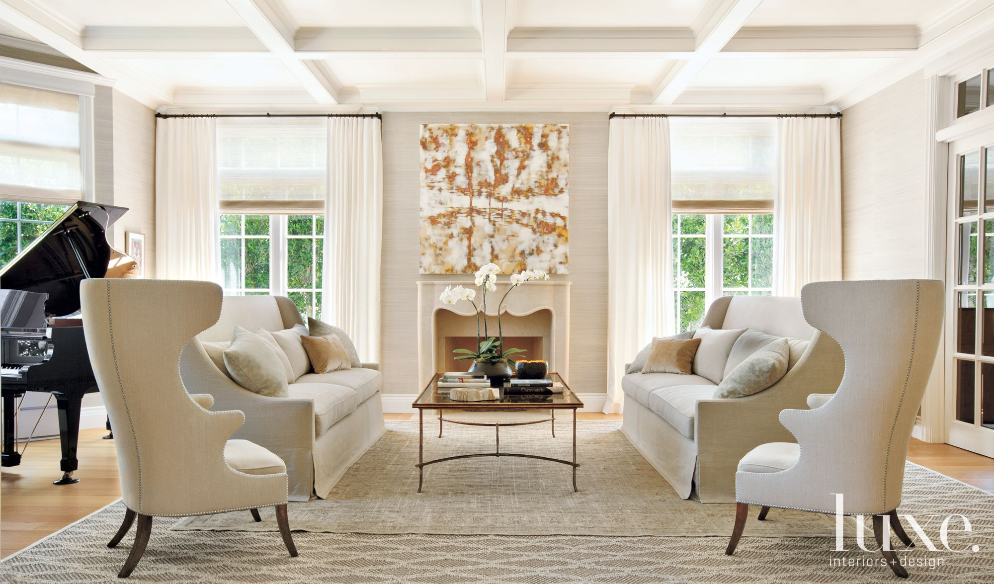 Transitional Cream Living Room with Twin Wing Chairs