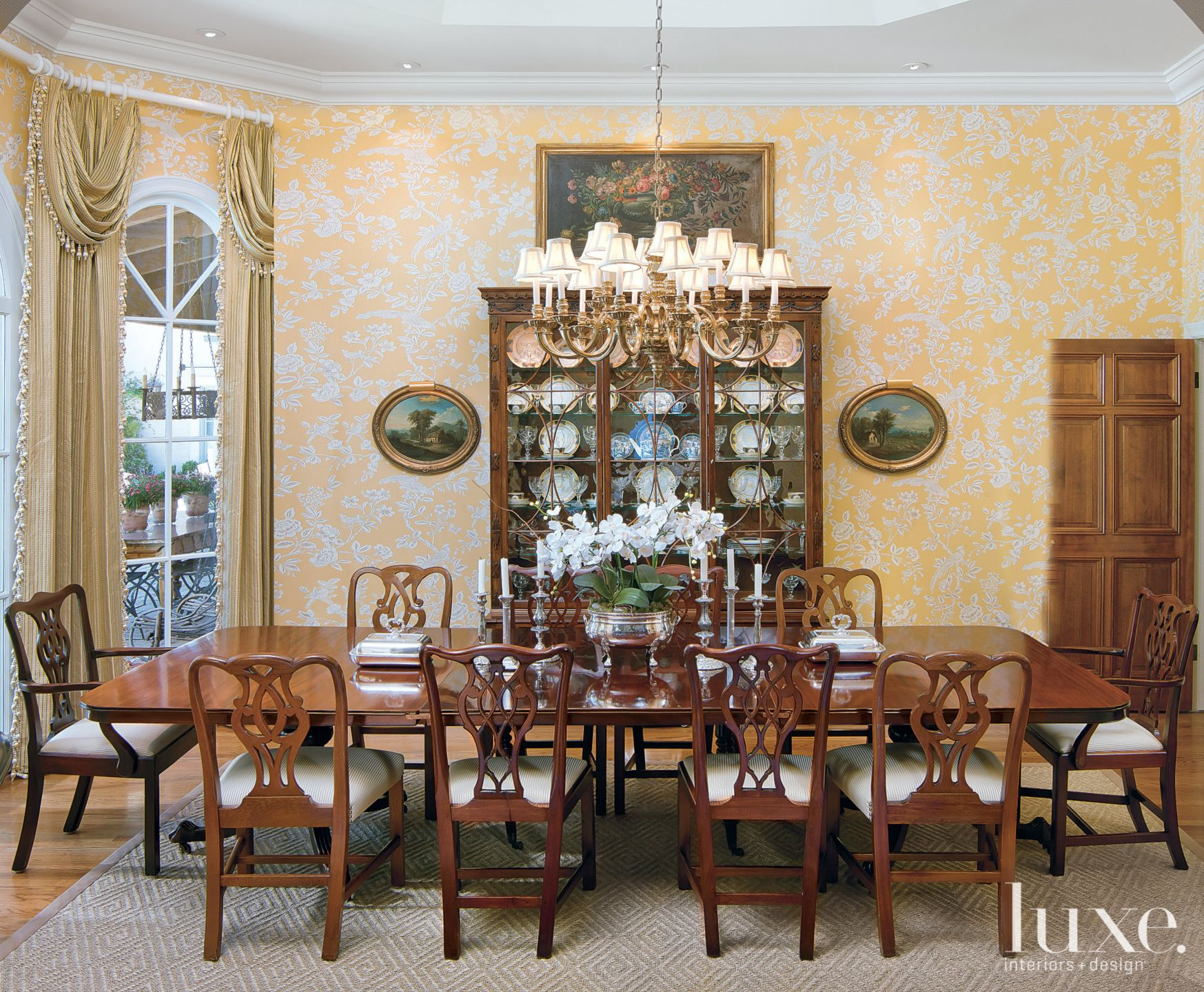 Traditional Dining Room With Antique Table