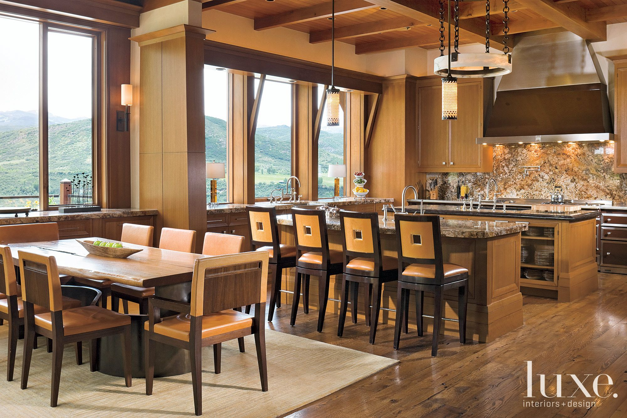 Mountain Brown Kitchen with Wood Islands