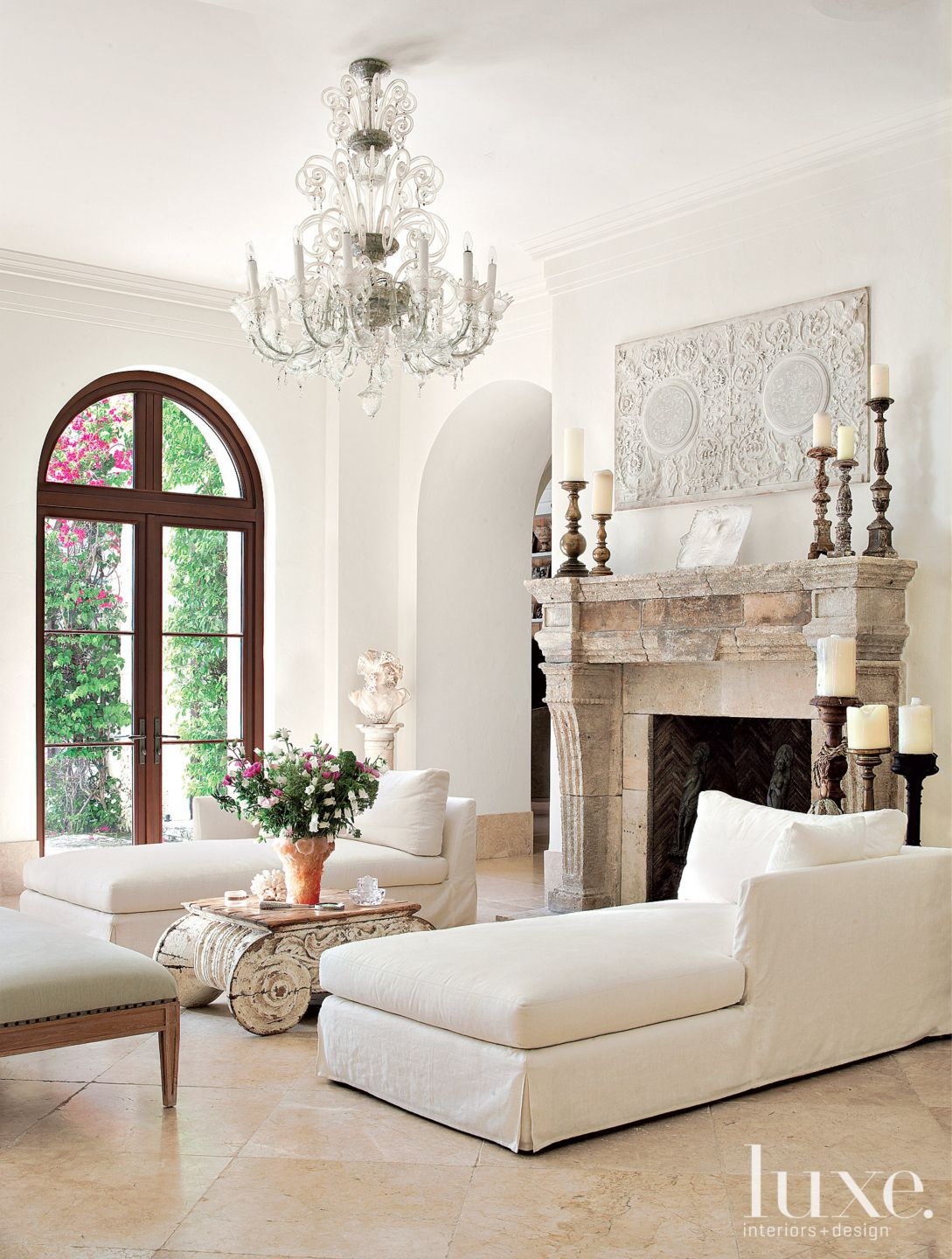 Transitional White Living Room with Long Lounge Chairs