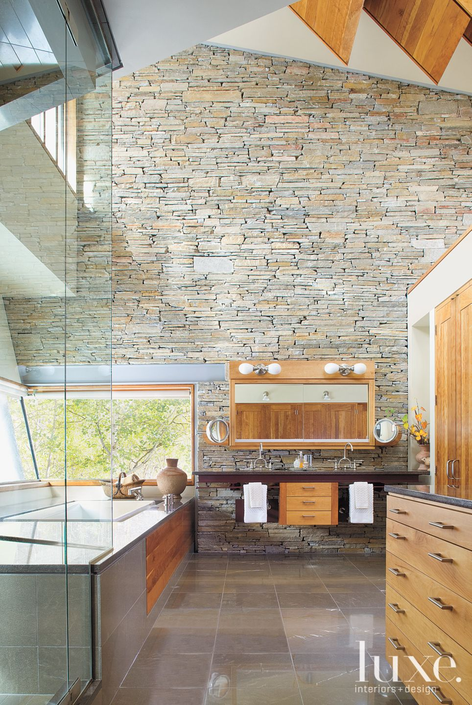 Mountain Master Bathroom with Slanted Windows