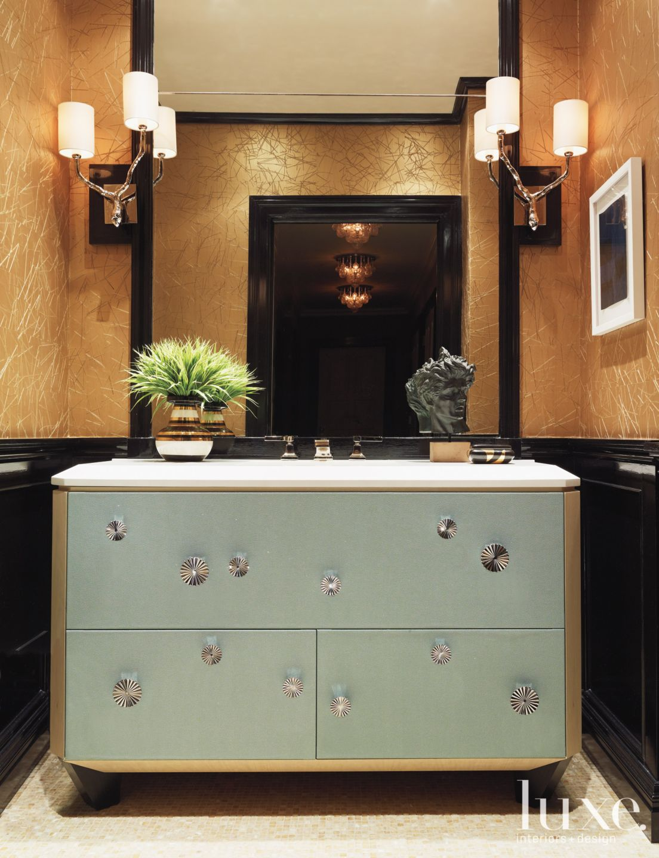 Bronze Modern Powder Room with Custom Vanity