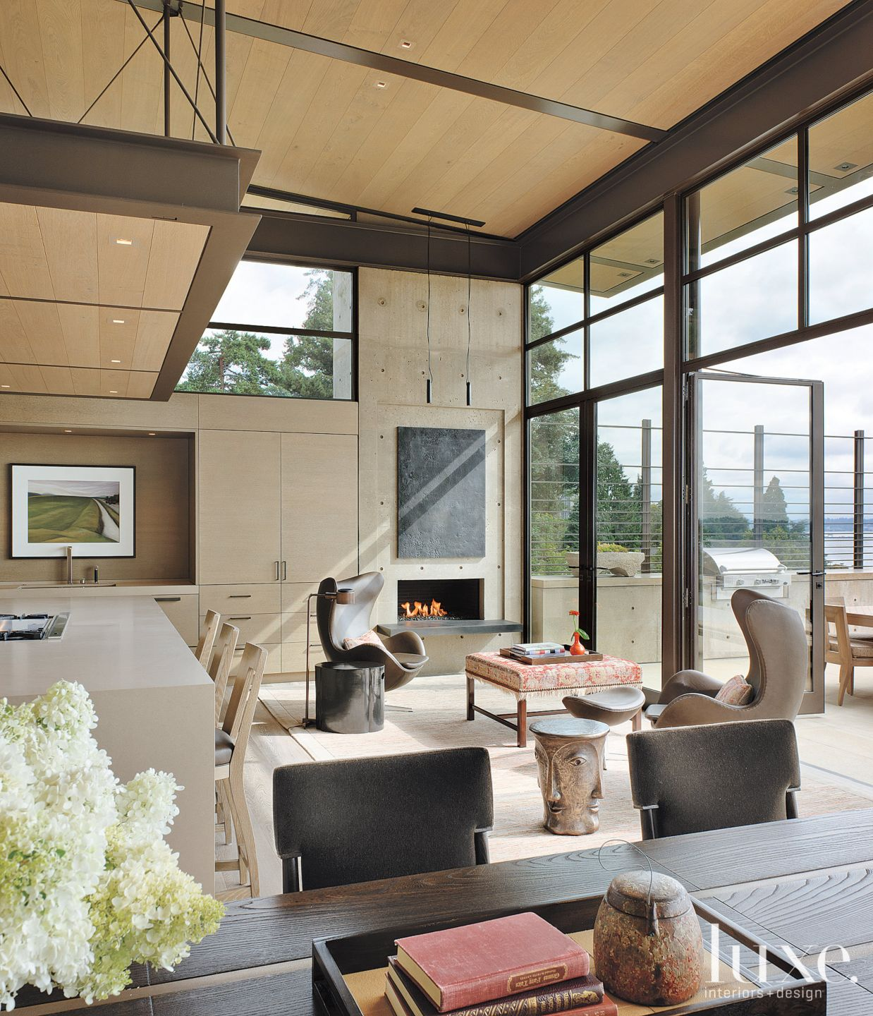 Contemporary Neutral Kitchen with Living Area