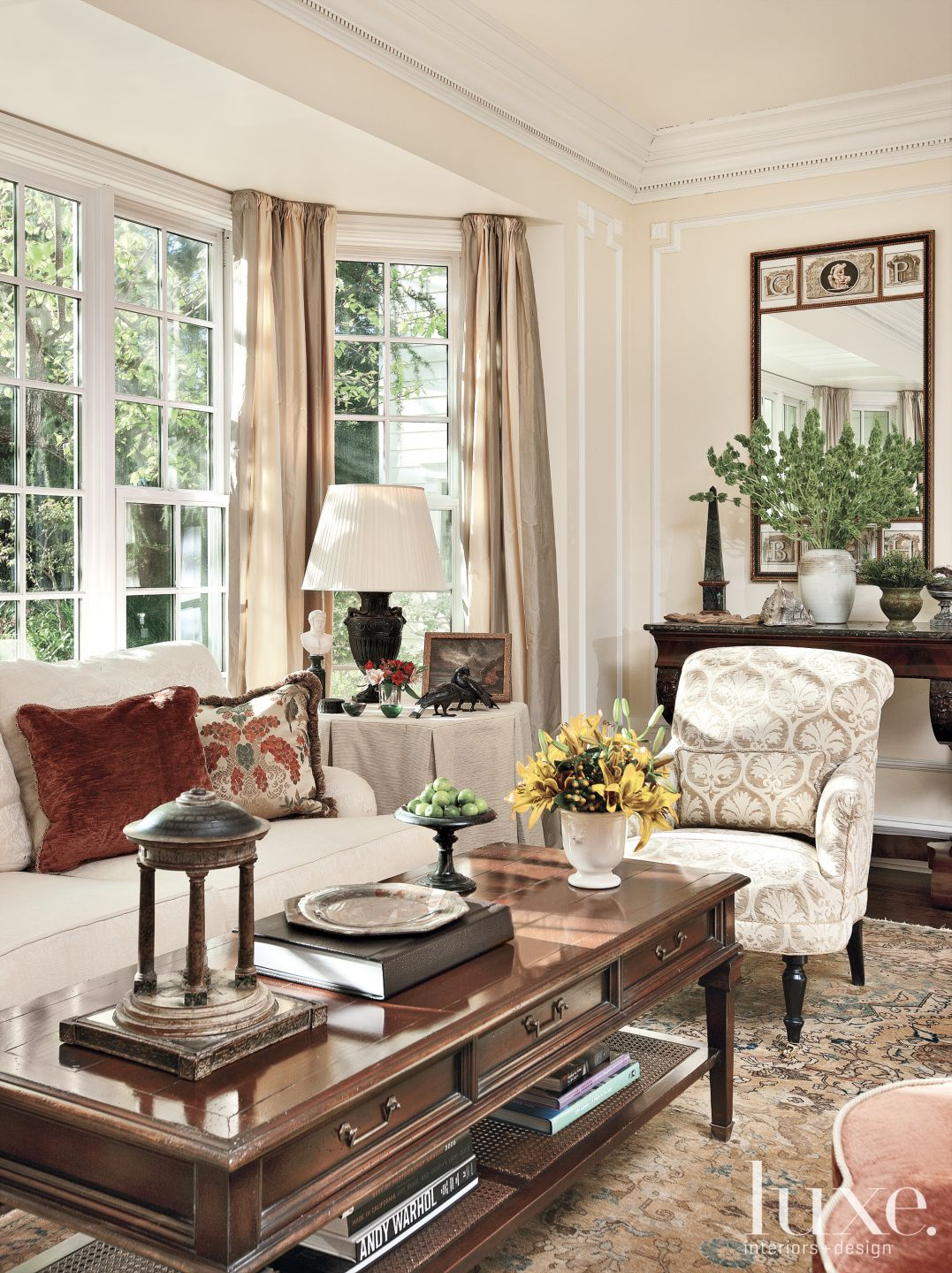 Traditional Beige Living Room with Bay Window