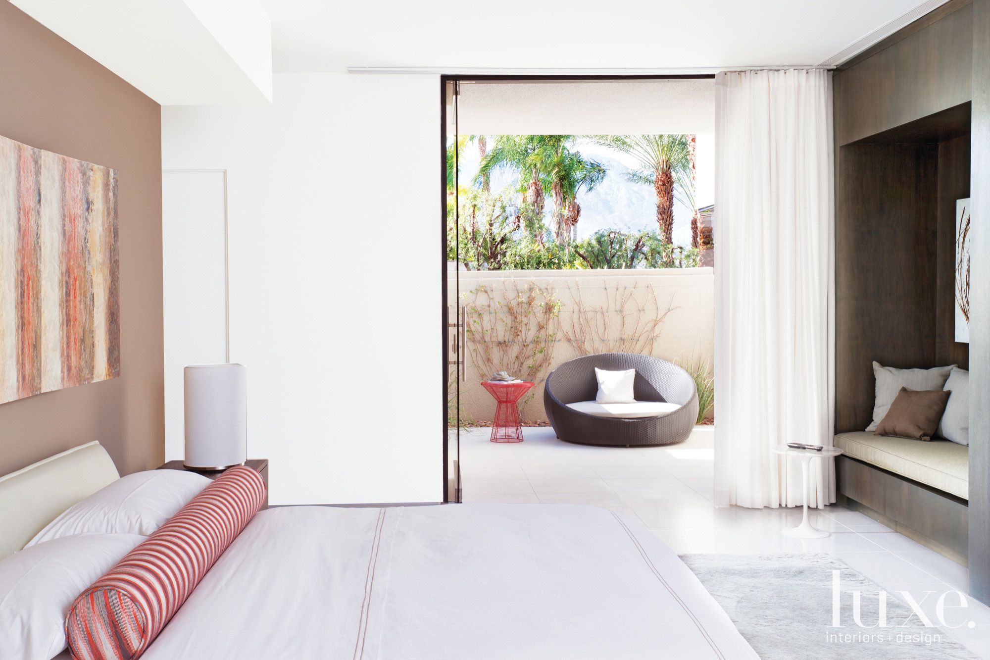 Contemporary White Indoor-Outdoor Bedroom