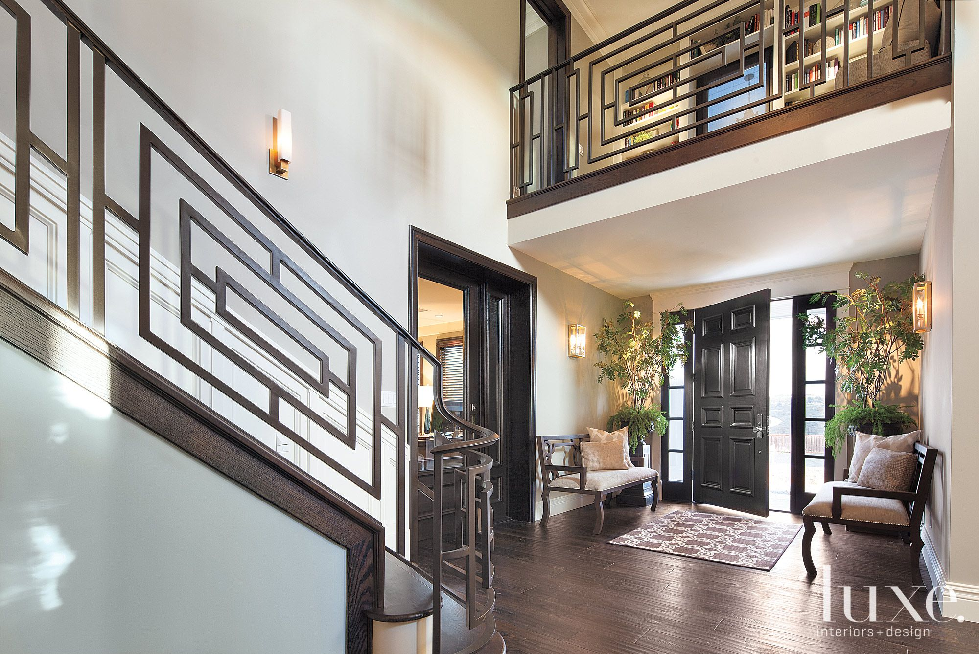 Transitional Brown Foyer with Walnut Flooring
