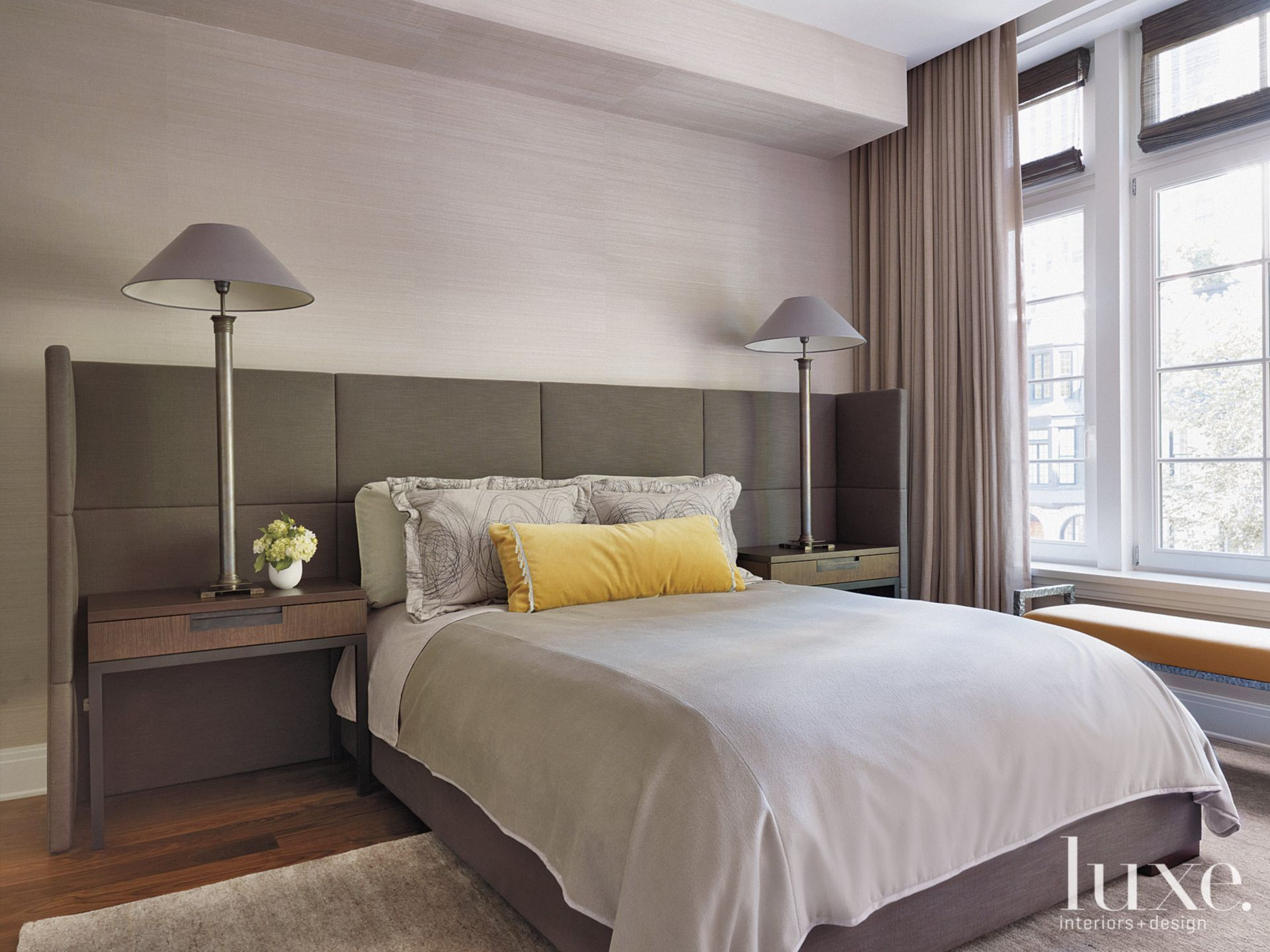 Contemporary Neutral Guest Bedroom with Tall Lamps