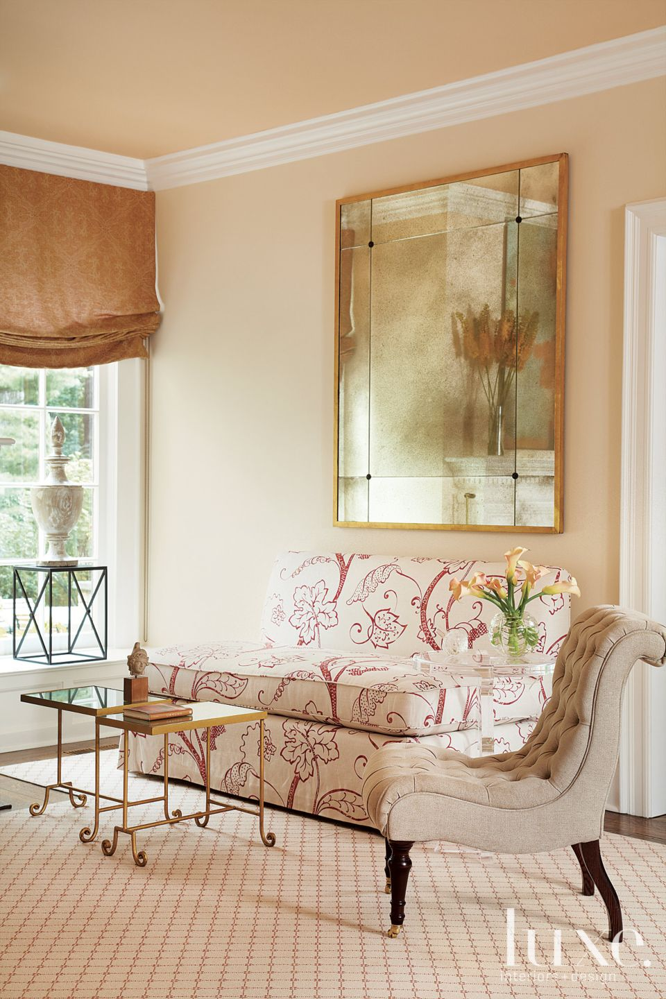 White and Cream Traditional Living Room with Custom Upholstered Banquet