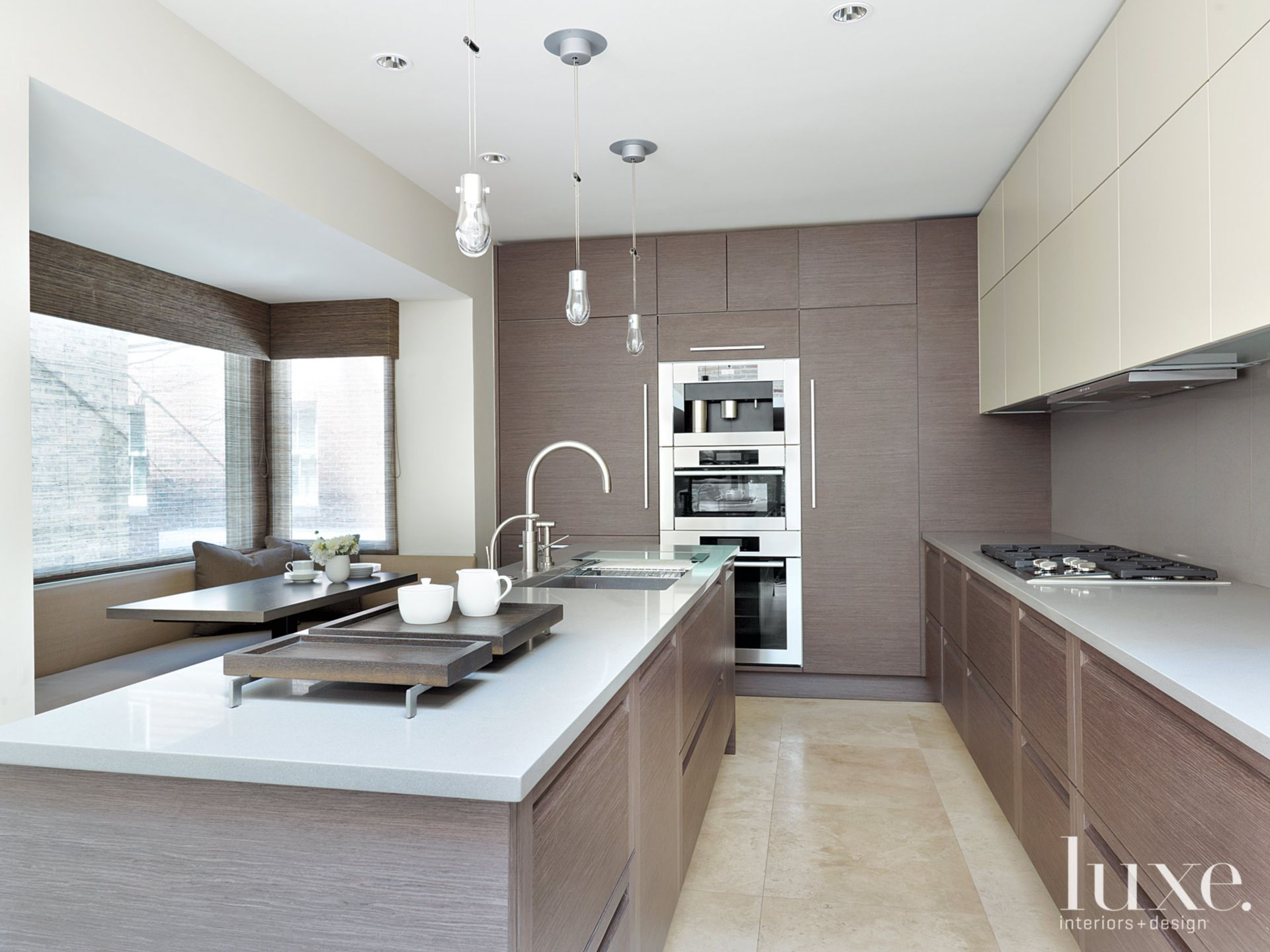 Silver and Gray Contemporary Kitchen with Composite Countertops