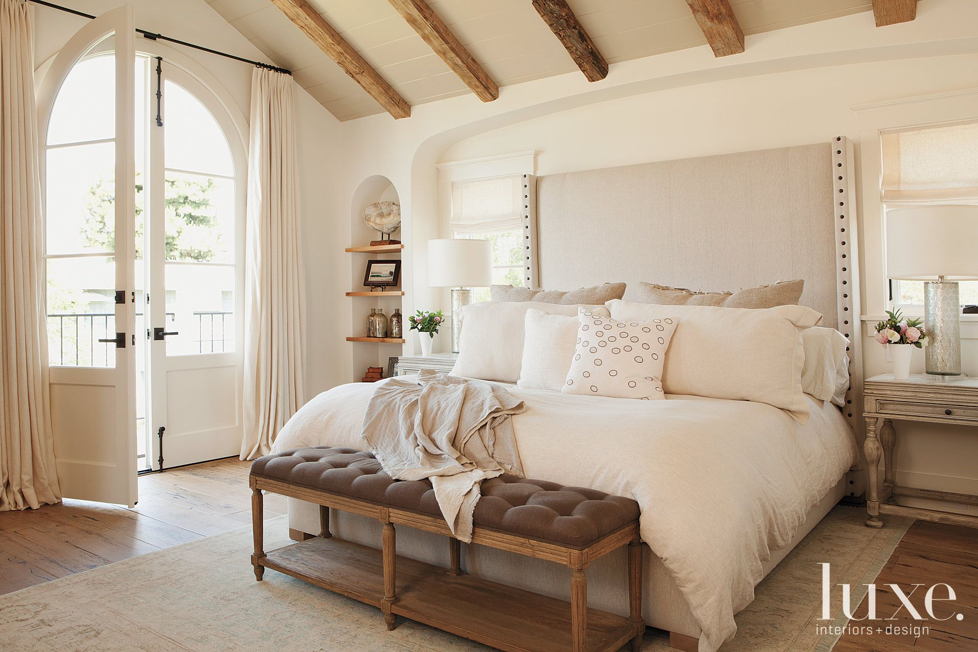 White Traditional Master Bedroom With Upholstered Headboard Luxe Interiors Design