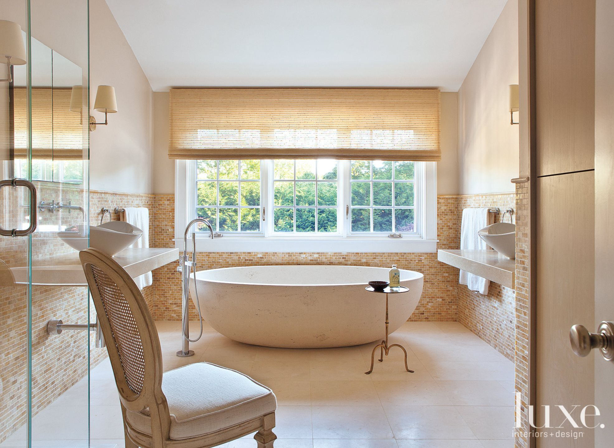 Traditional Cream Bathroom with Neutral Mosaic Tiles