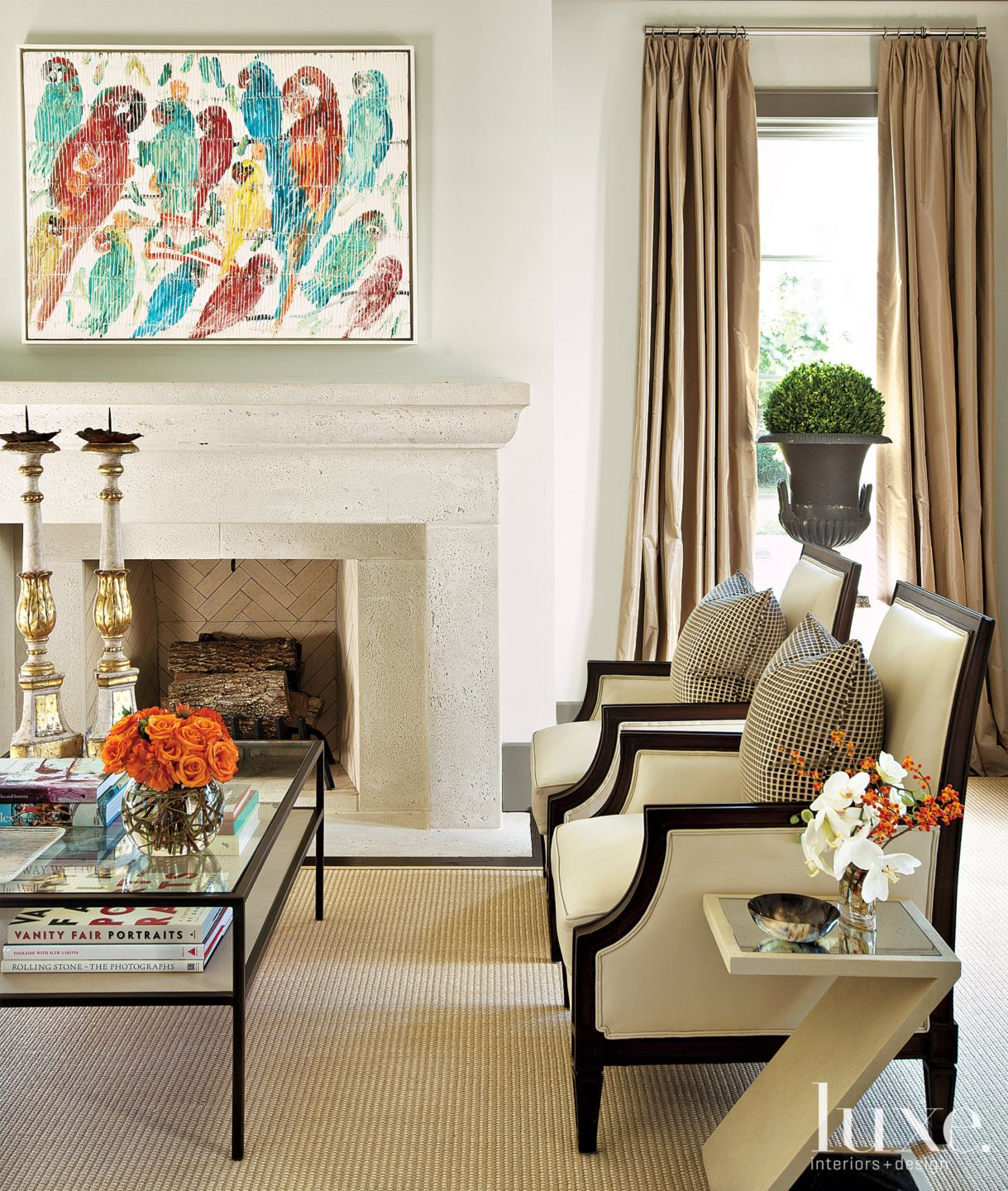 Neutral French-Revival Traditional Living Room Detail