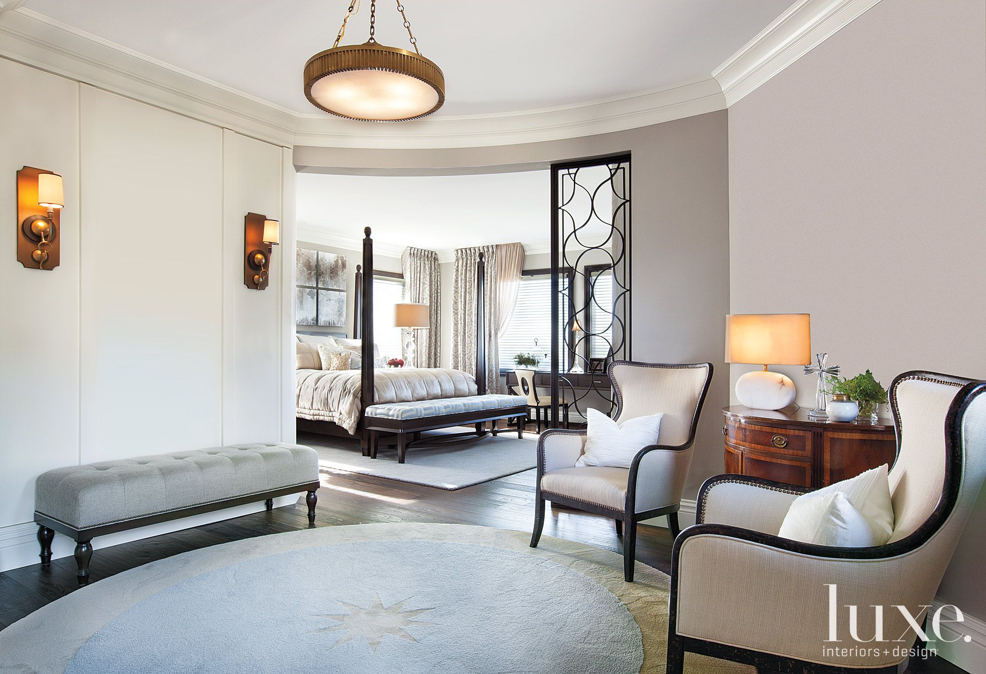 Neutral Transitional Octagon-Shaped Sitting Area and Master Bedroom