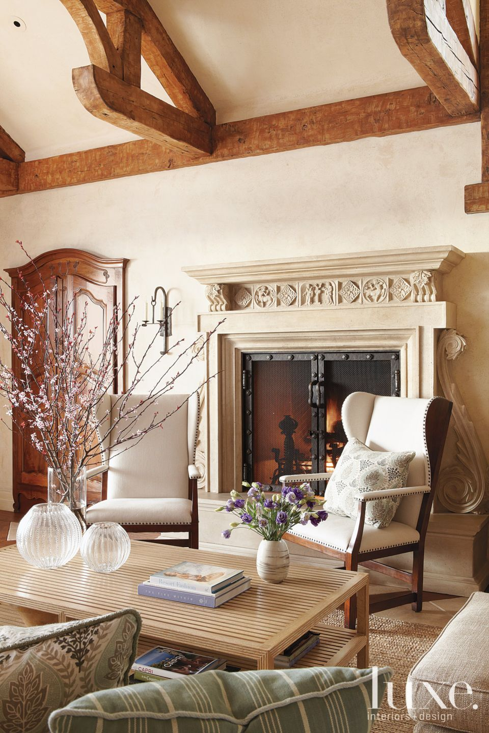 Mediterranean Cream Family Room Hearth